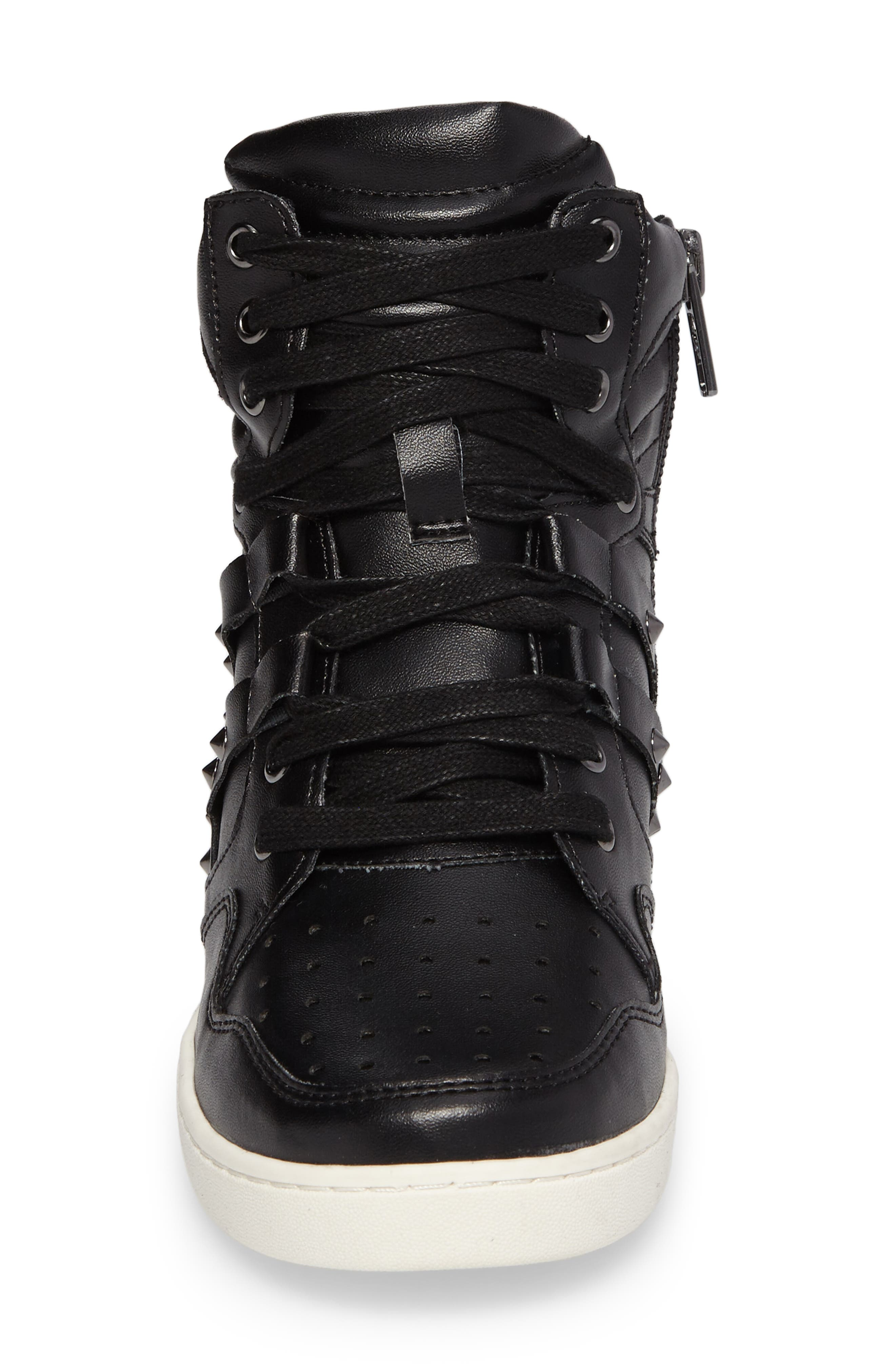 Boogie Chic Studded High Top Sneaker,                             Alternate thumbnail 4, color,                             Black Faux Leather