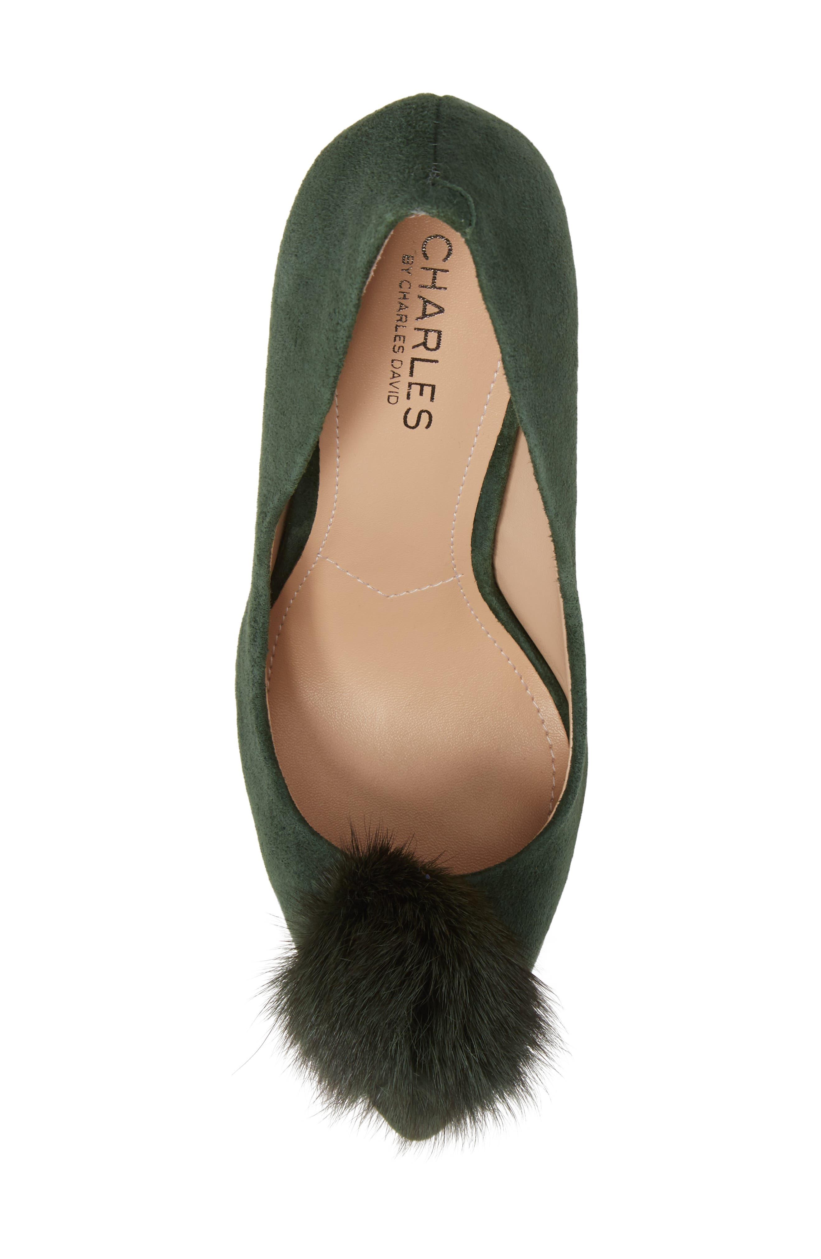 Alternate Image 5  - Charles by Charles David Pixie Pump with Genuine Fox Fur Pom