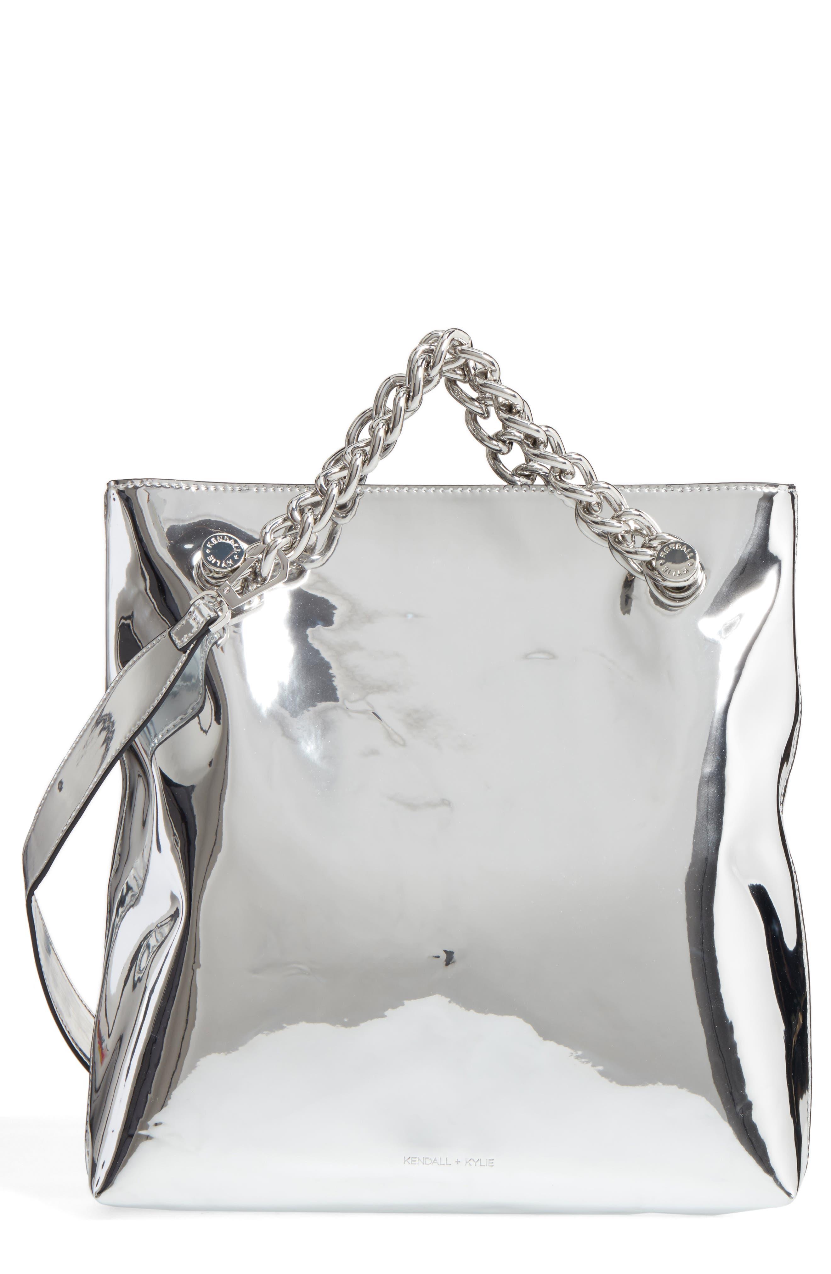 Van Foldover Clutch,                         Main,                         color, Silver Specchio