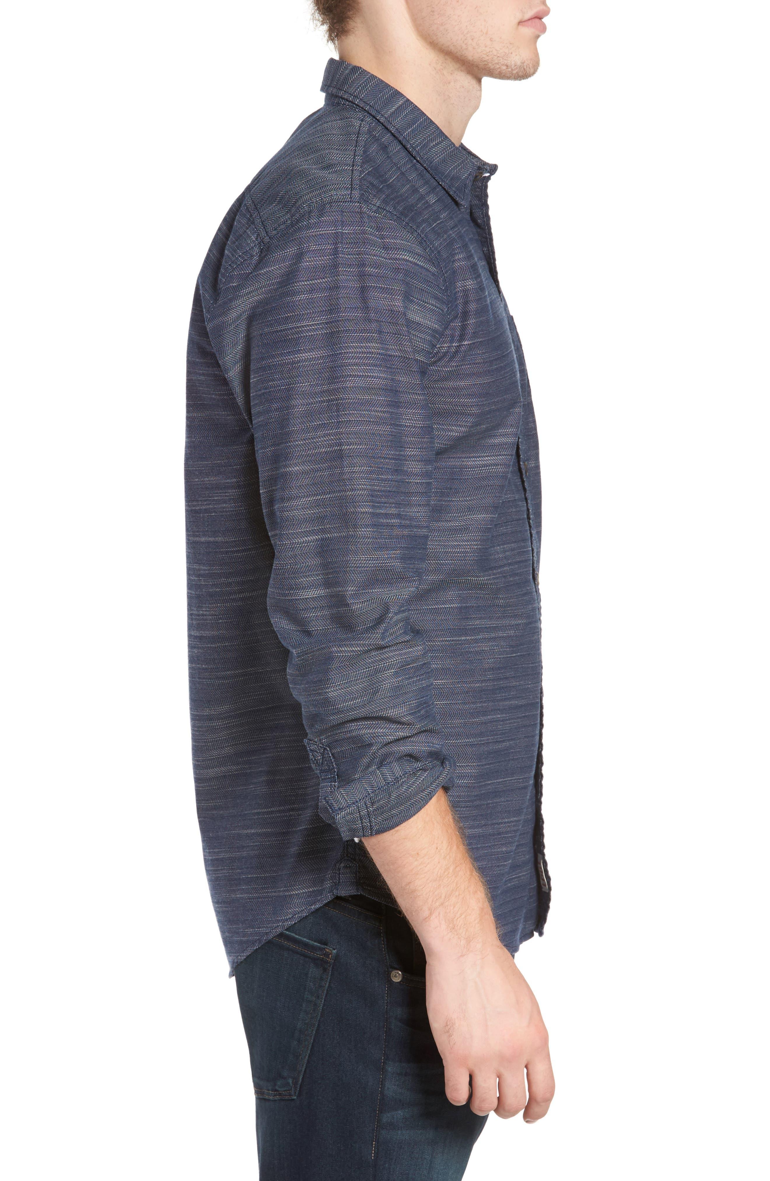 Herringbone Chambray Shirt,                             Alternate thumbnail 3, color,                             Navy Charcoal Herringbone