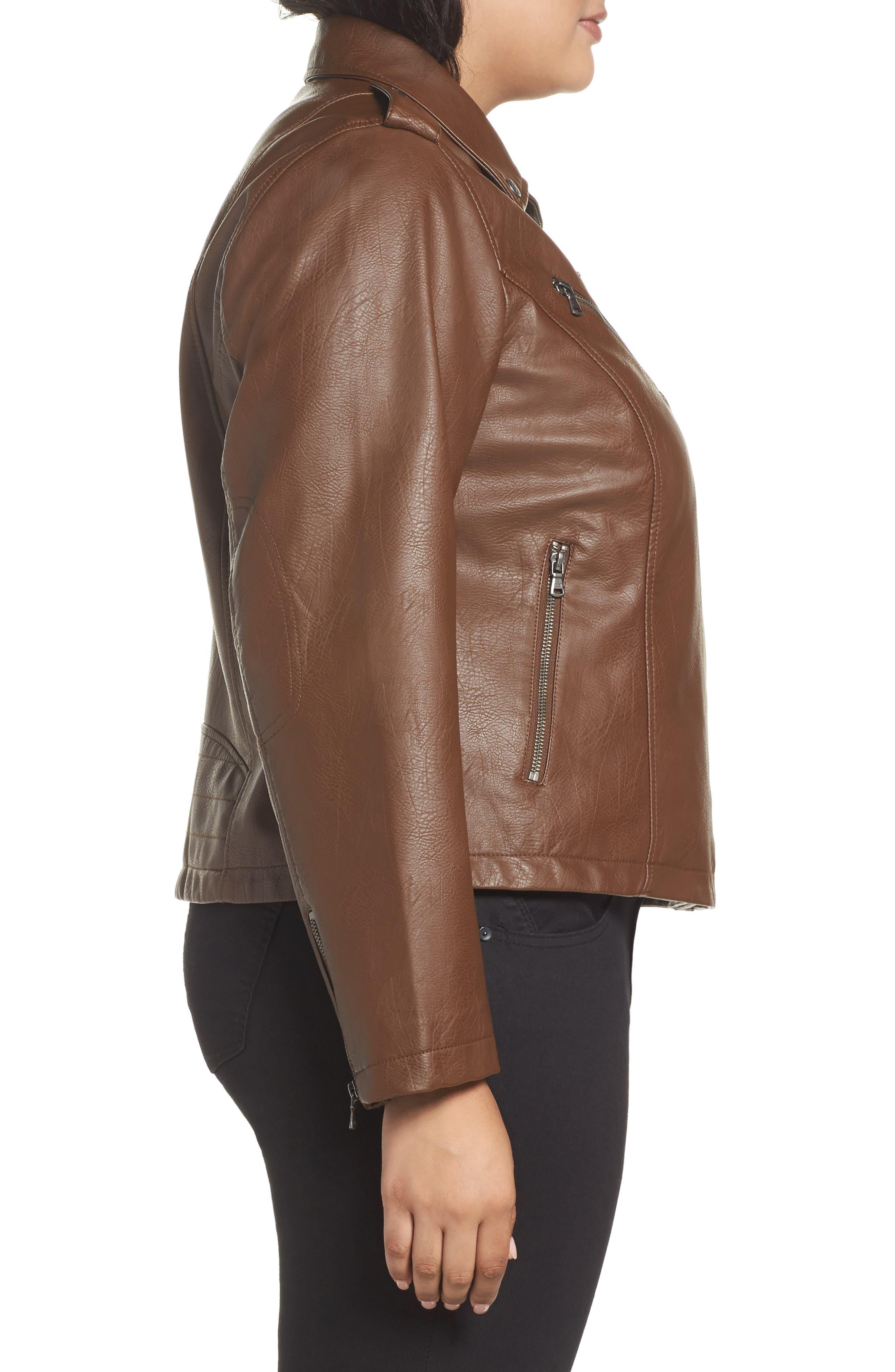 Faux Leather Jacket,                             Alternate thumbnail 3, color,                             Cognac