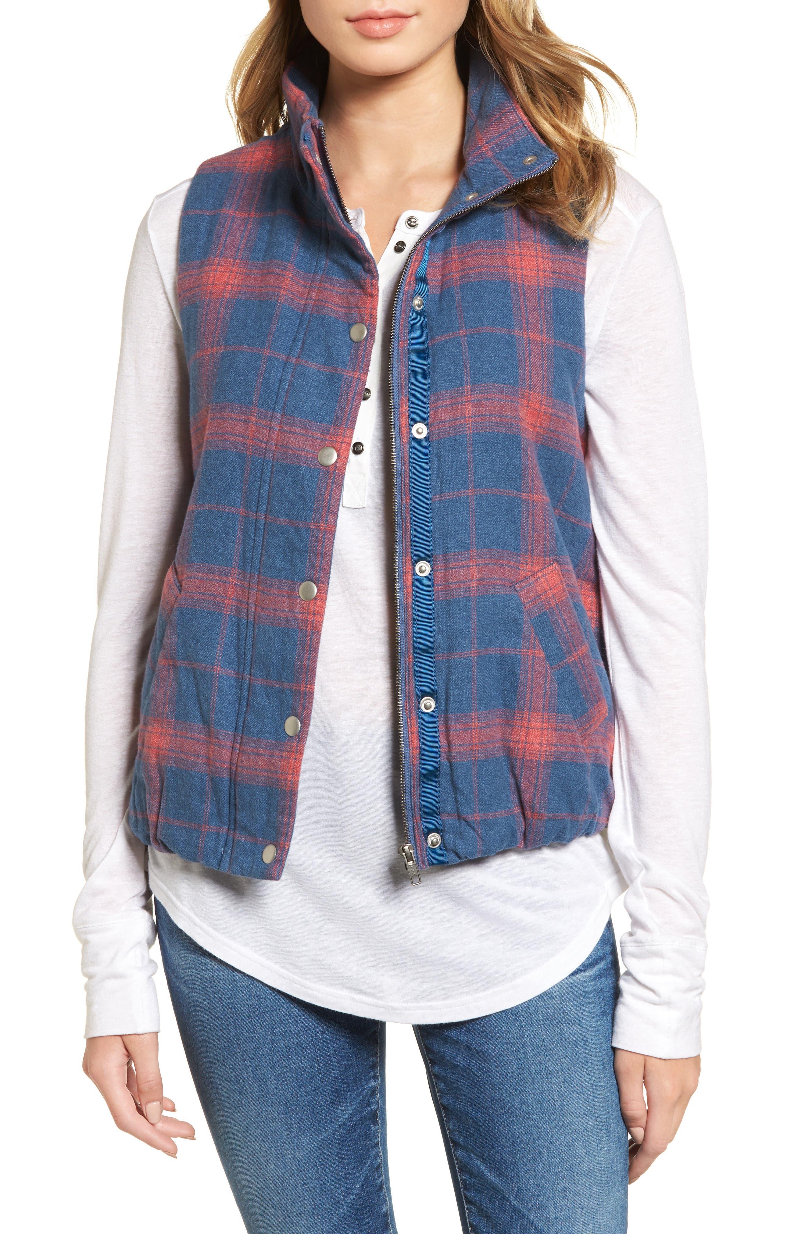 Plaid Flannel Vest,                         Main,                         color, Blue/ Red