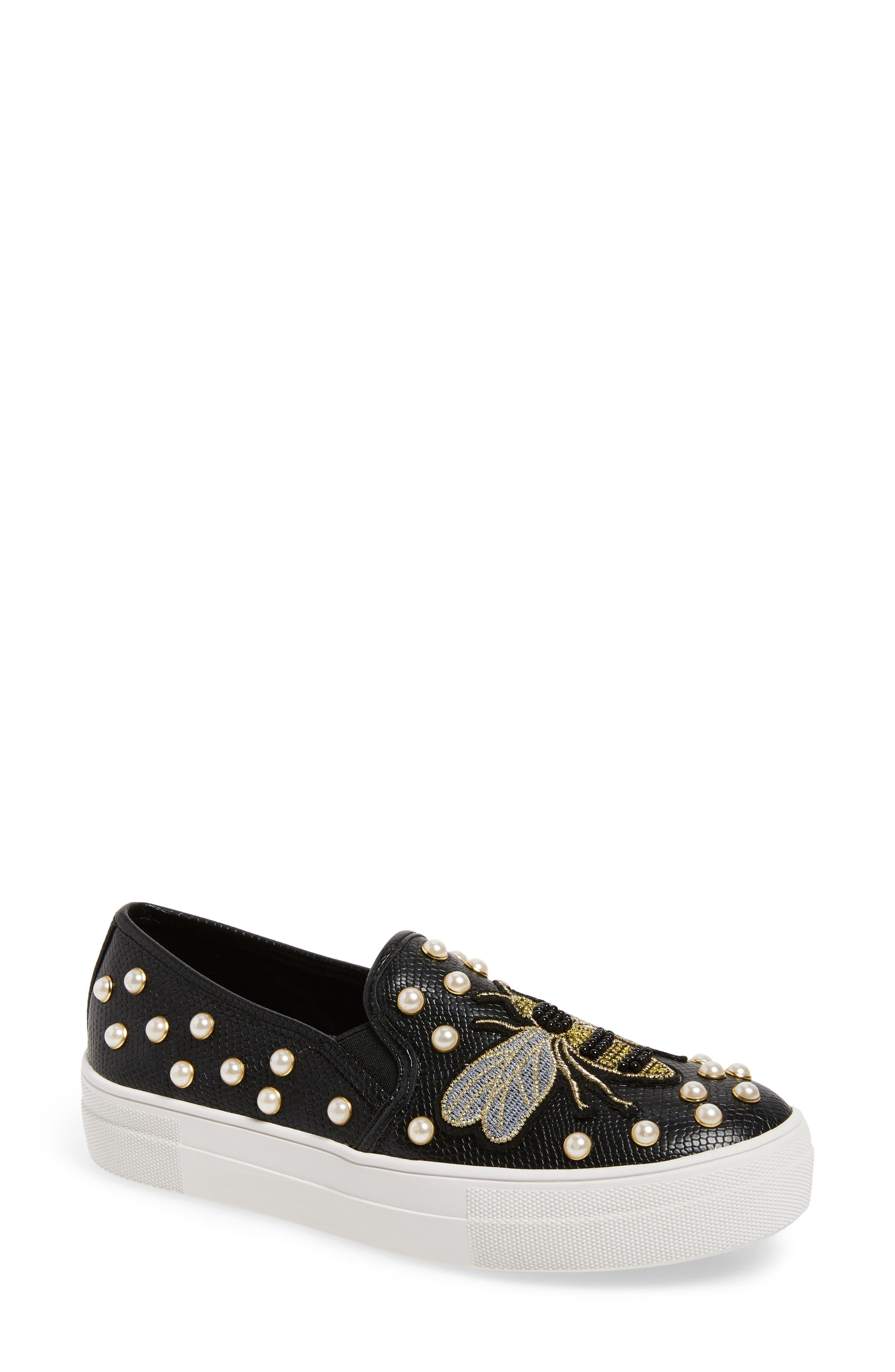 Steve Madden Polly Bee Embellished Slip-On Platform Sneaker (Women)