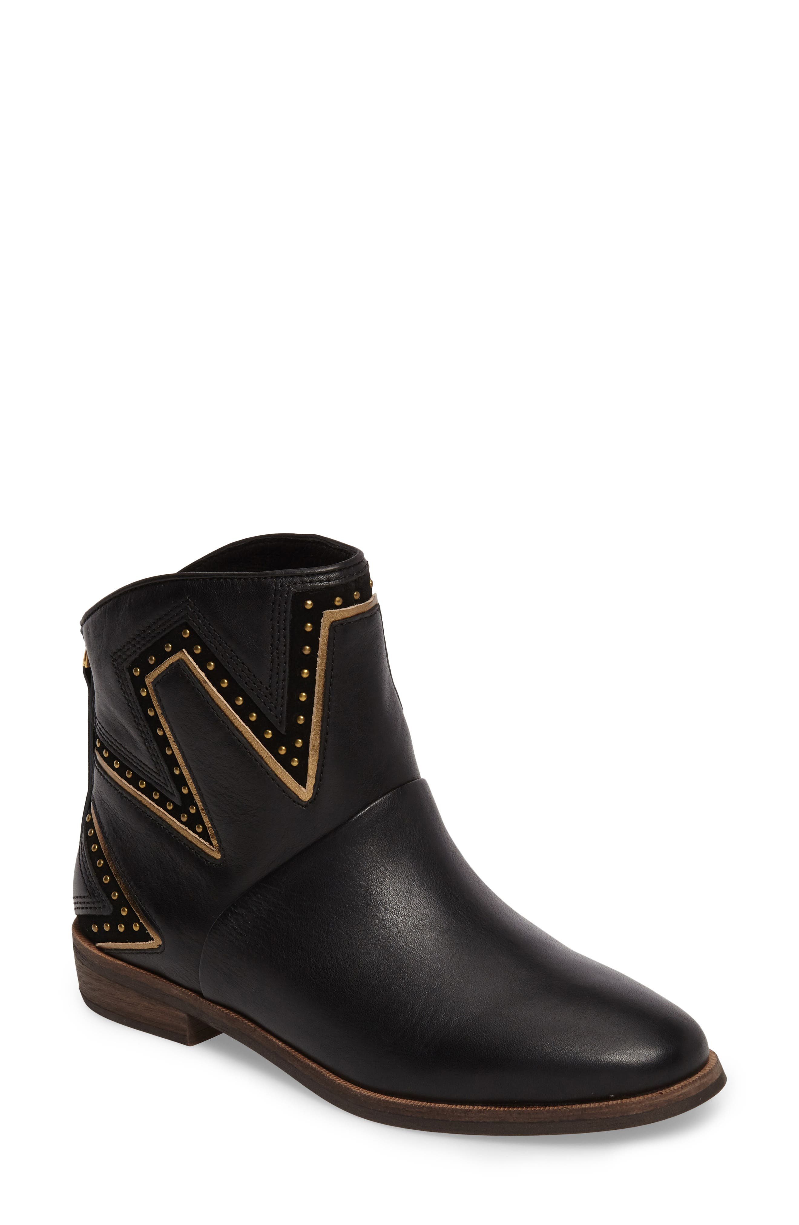 Lars Studded Bootie,                             Main thumbnail 1, color,                             Black Leather