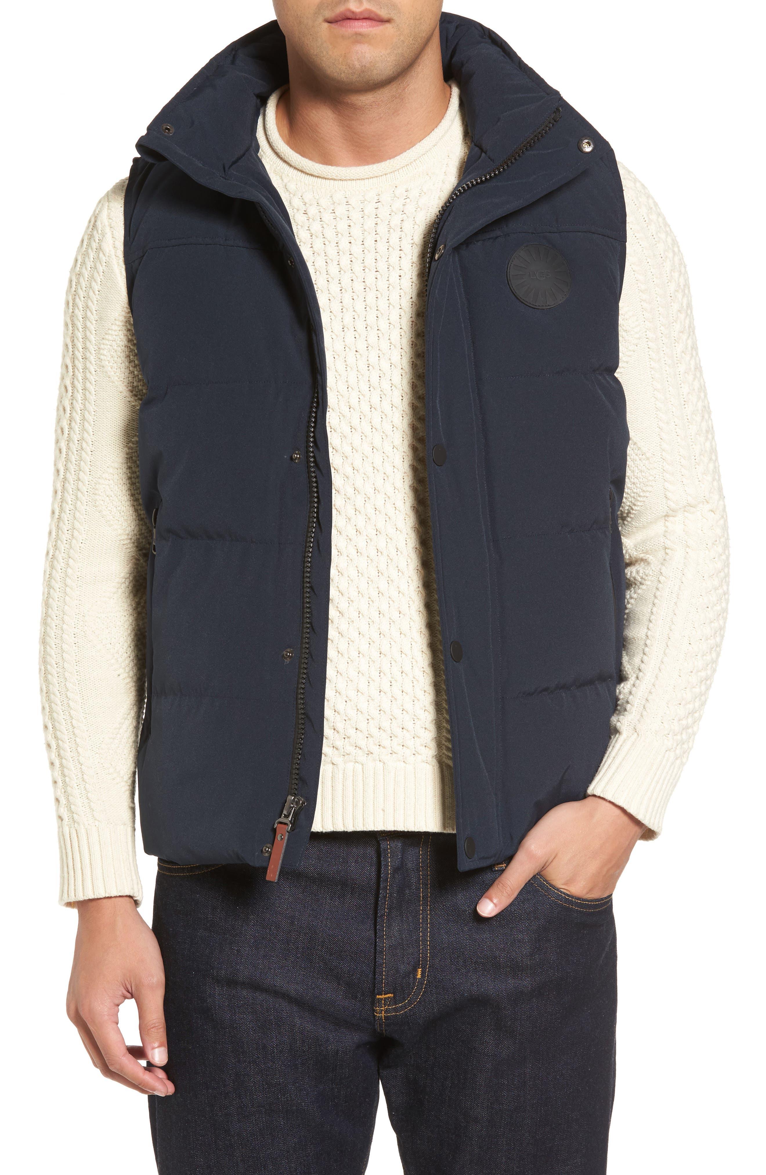Water-Resistant Down Vest,                         Main,                         color, Navy