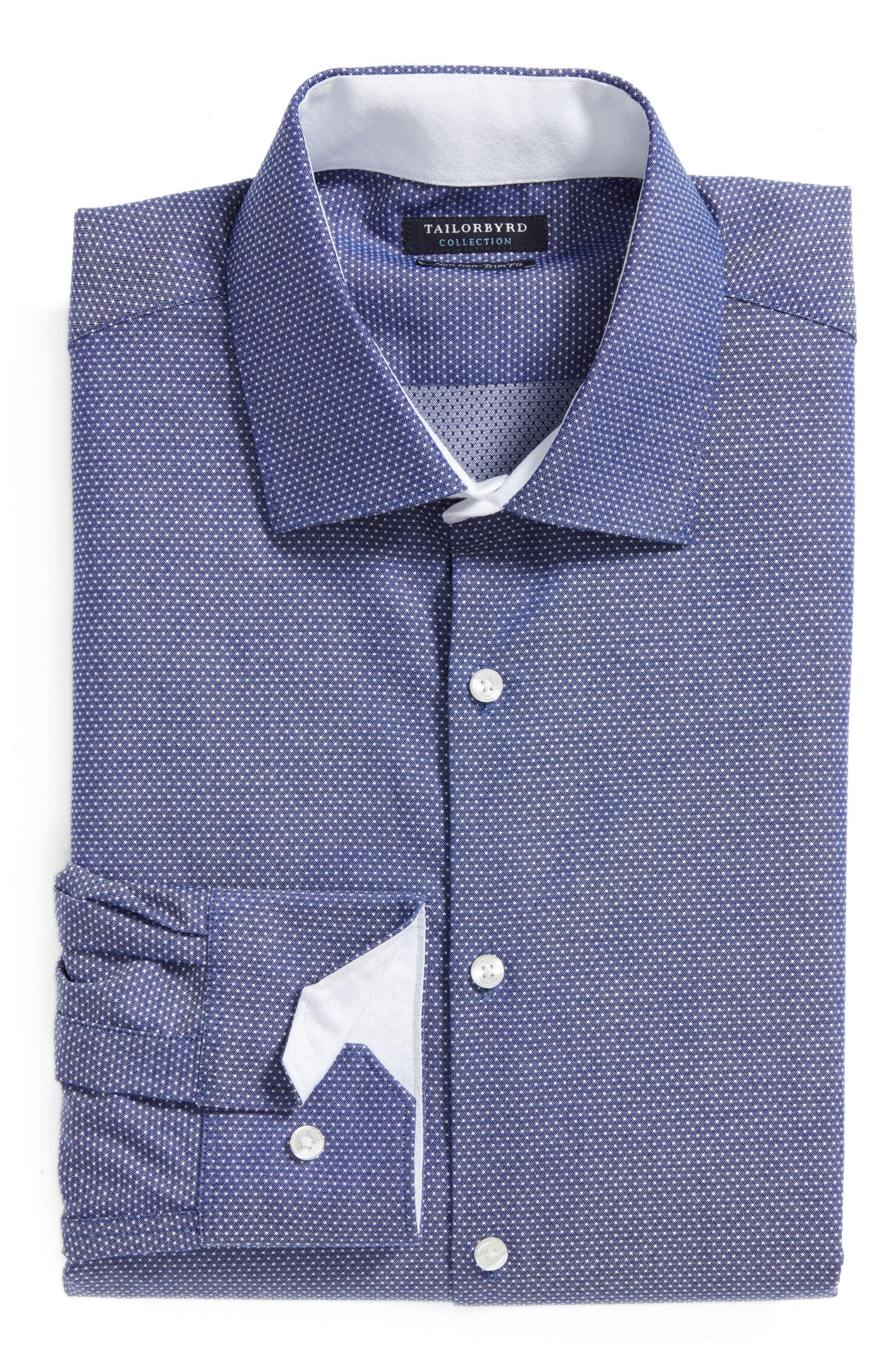 Main Image - Tailorbyrd Eden Isle Trim Fit Non-Iron Geometric Dress Shirt