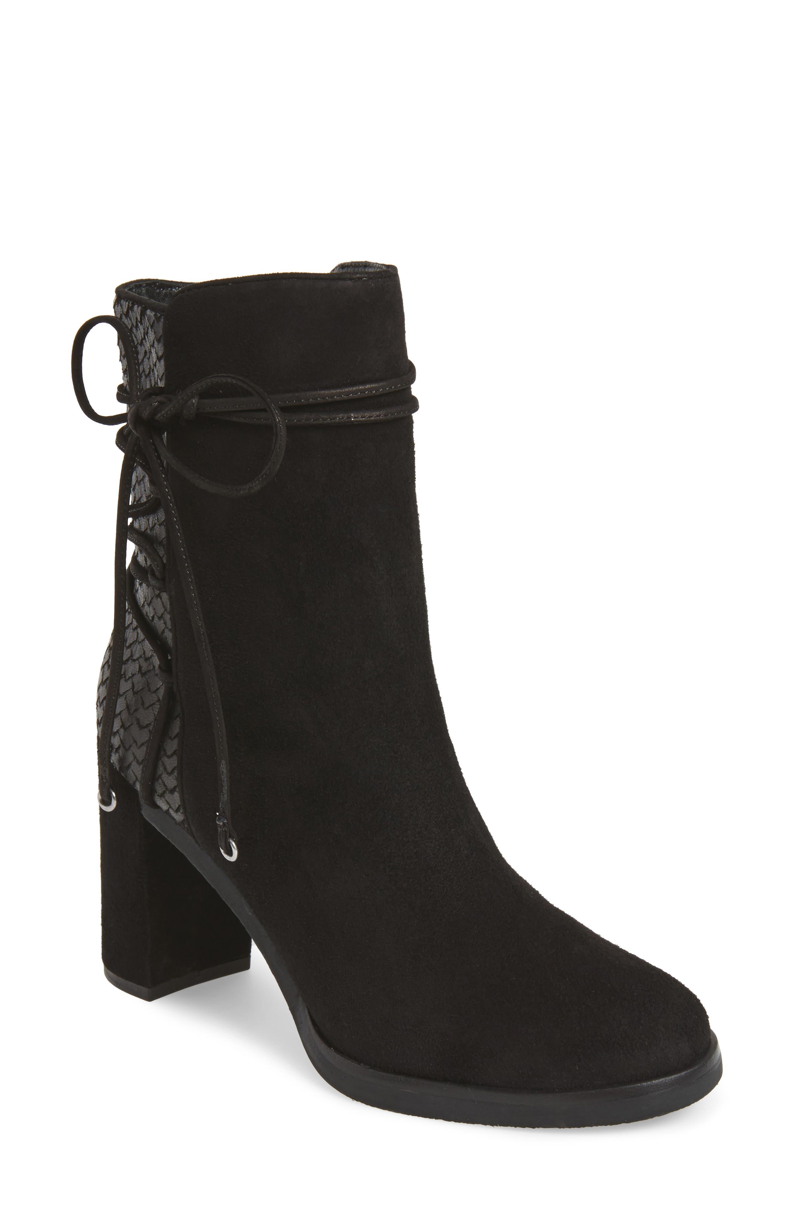 Adley Ankle Wrap Boot,                             Main thumbnail 1, color,                             Black Suede