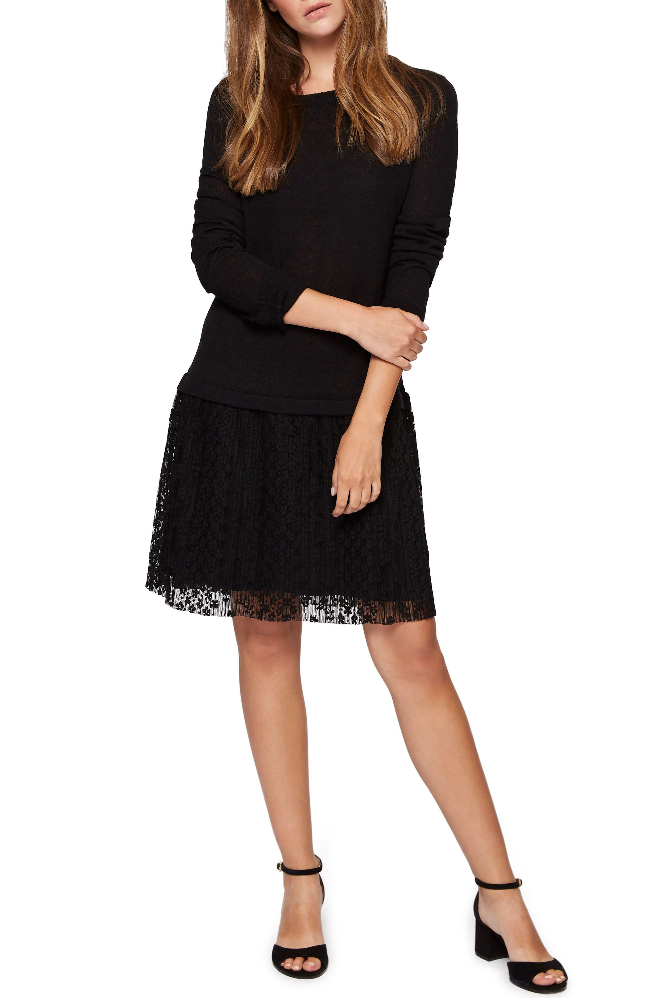 Sophie Lace Skirt Sweater Dress,                         Main,                         color, Black