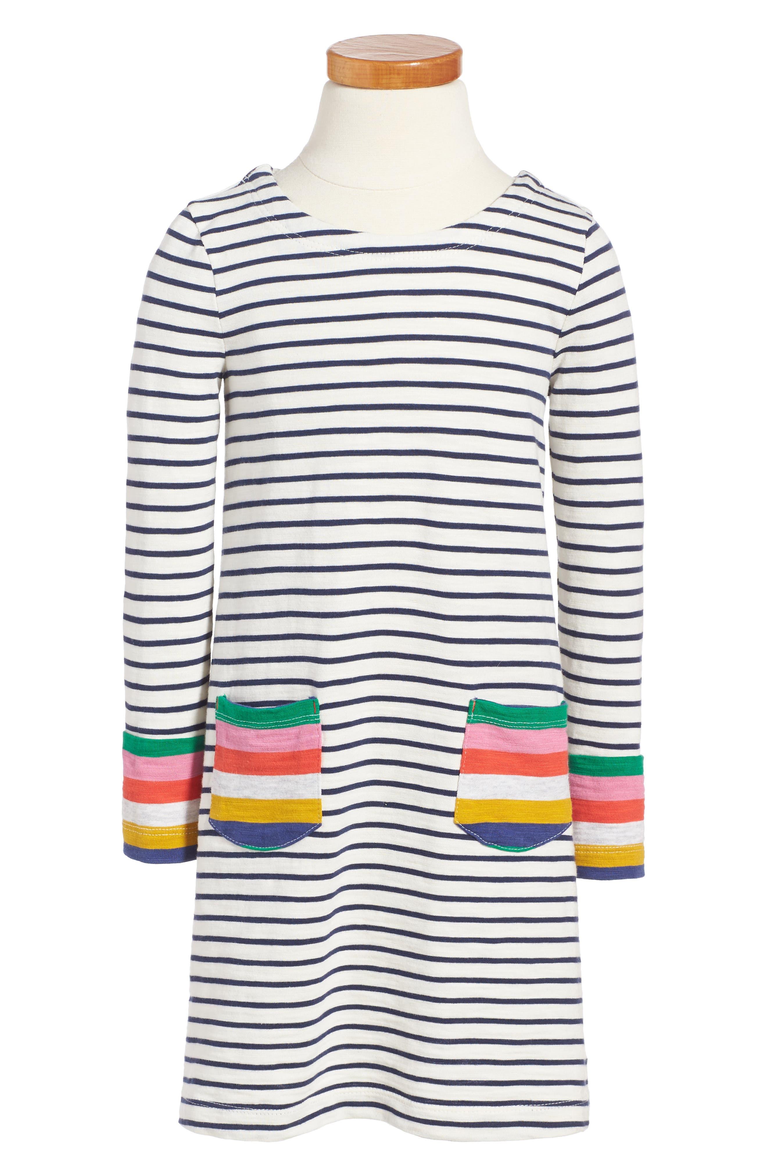 Stripy Jersey Dress,                         Main,                         color, Navy Multi Stripe