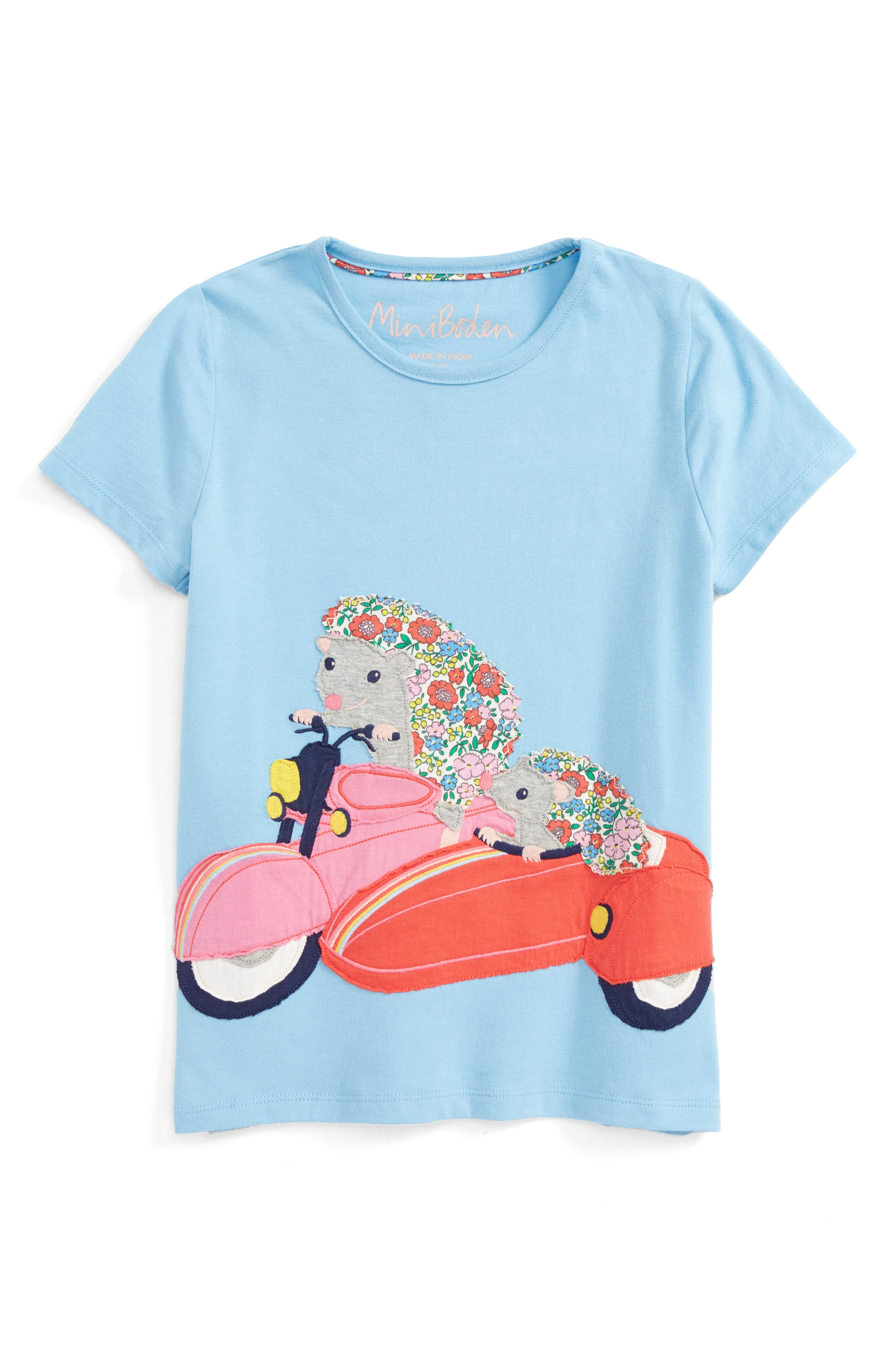 Patchwork Appliqué Tee,                         Main,                         color, Frosted Blue