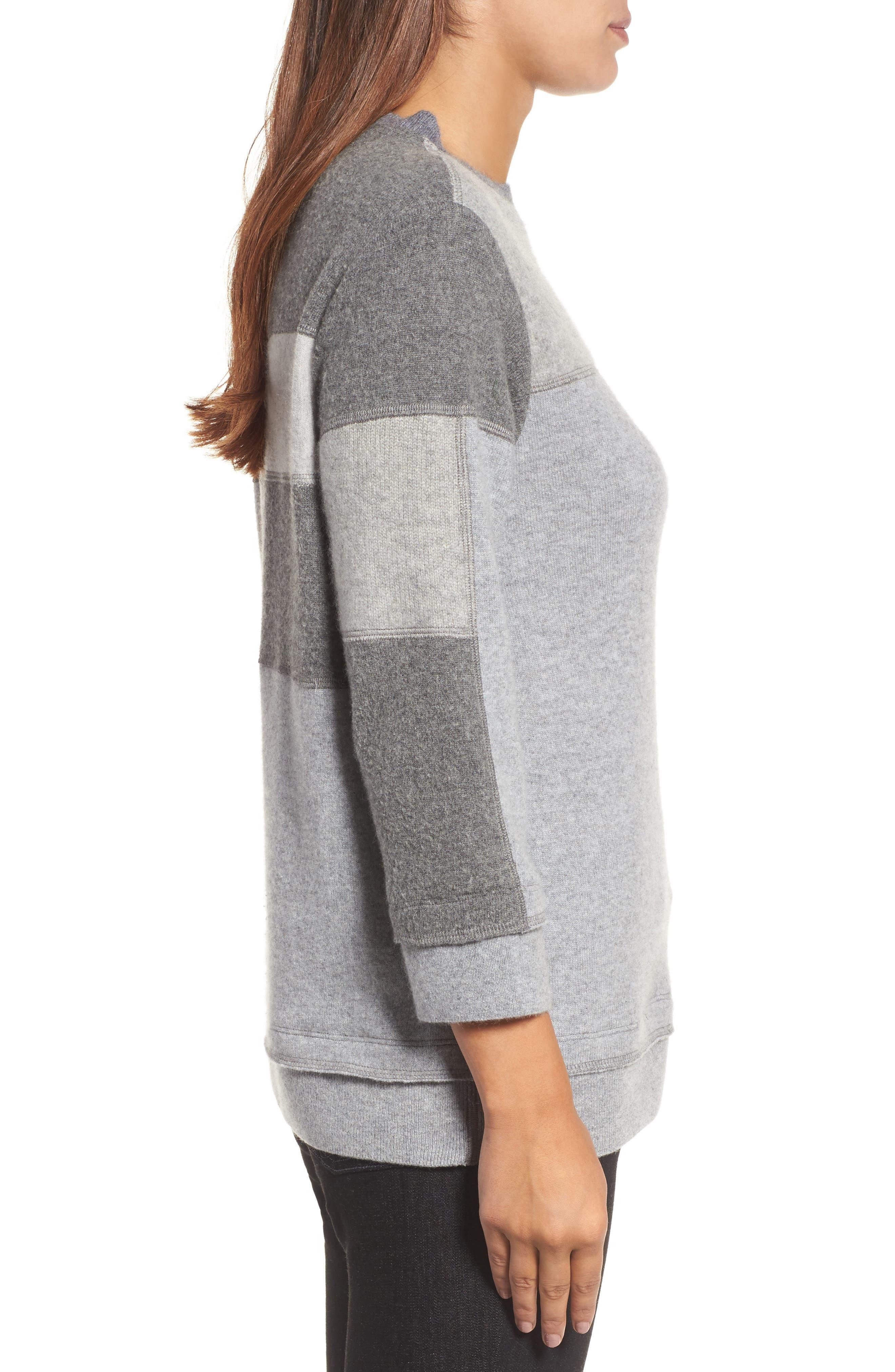 Colorblock Cashmere Sweater,                             Alternate thumbnail 3, color,                             Grey