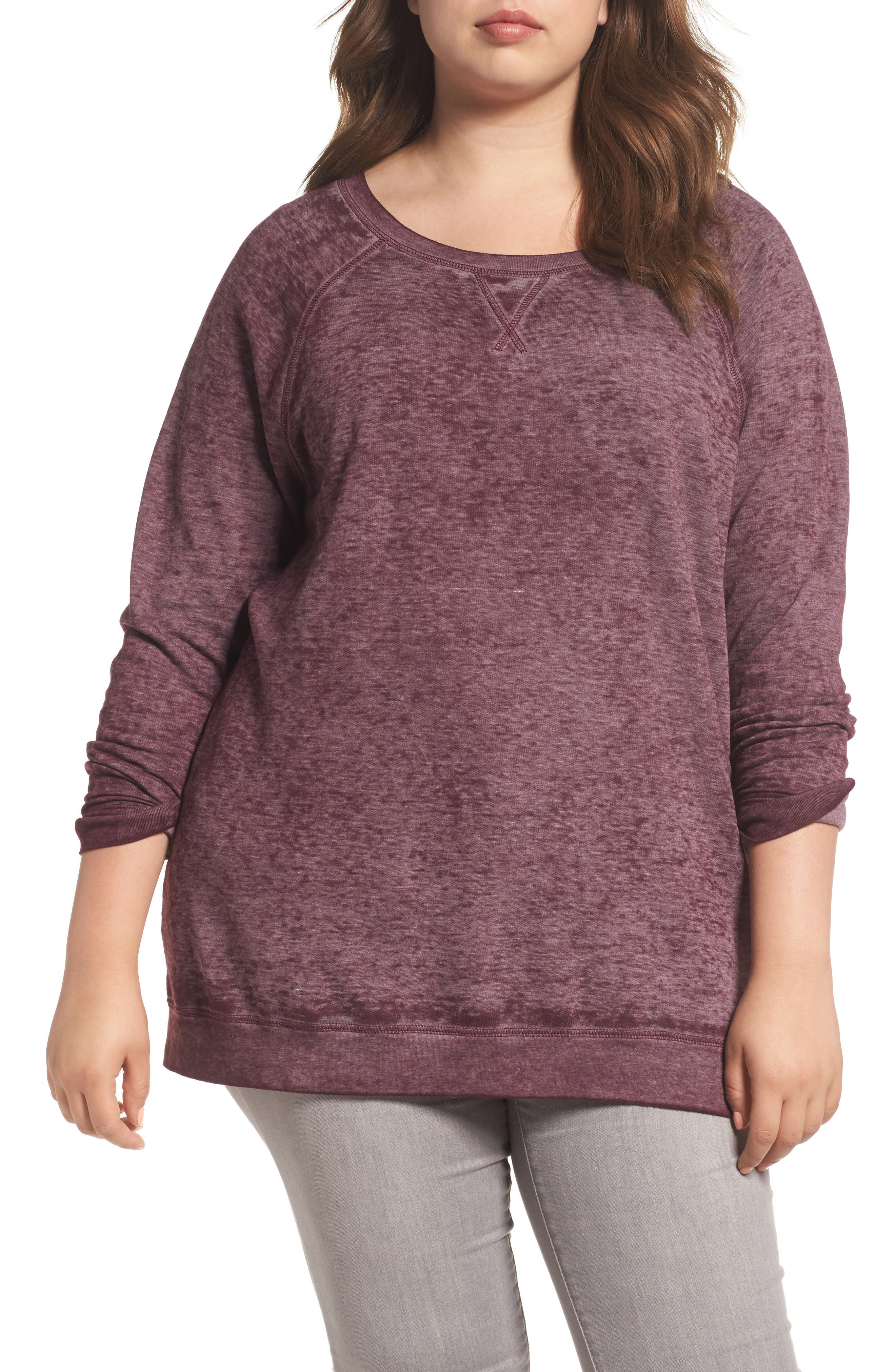 Caslon® Burnout Sweatshirt (Plus Size)