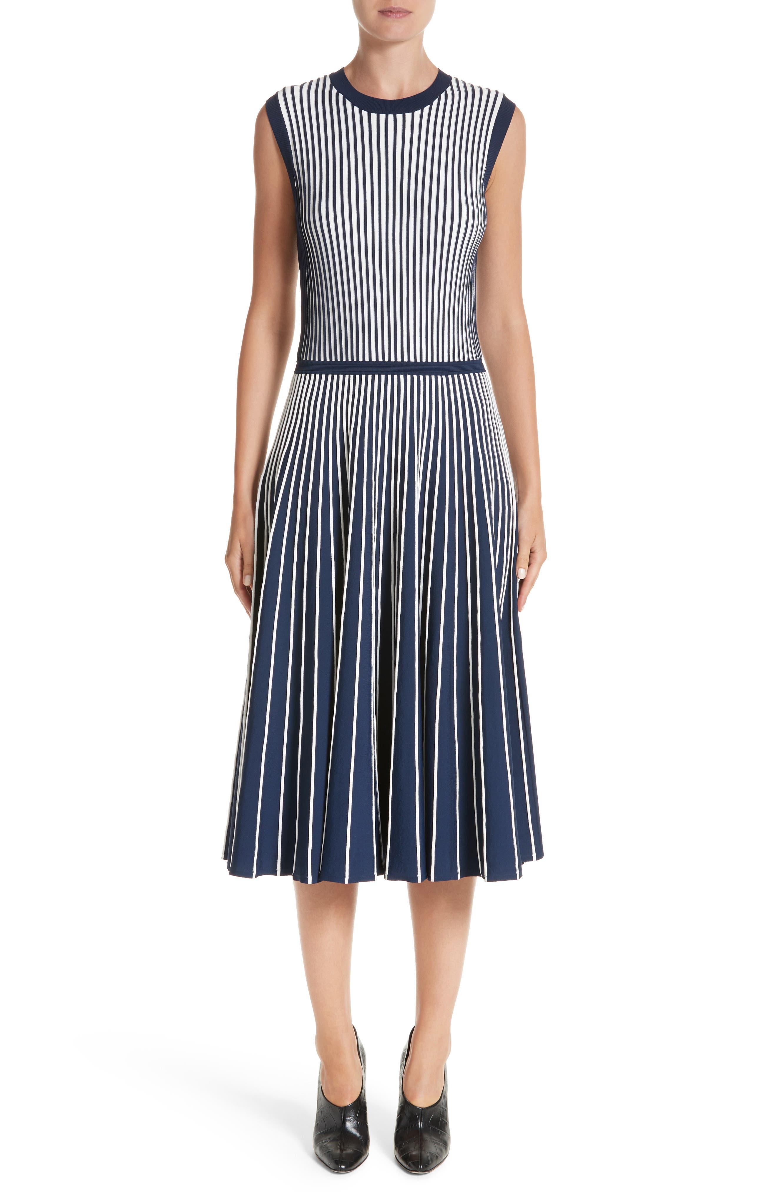 Stripe Knit Day Dress,                             Main thumbnail 1, color,                             Navy / Chalk