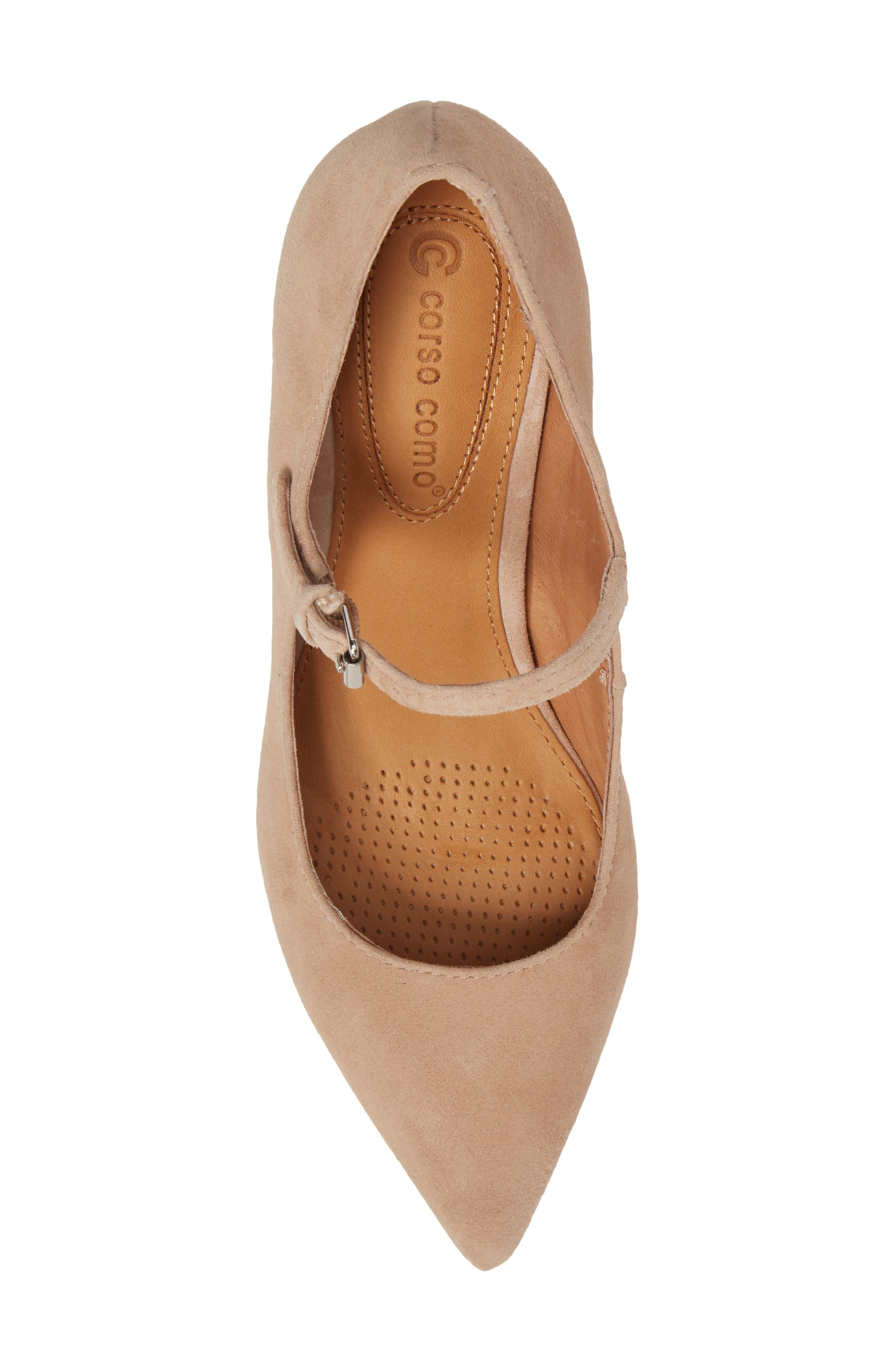 Coy Pointy Toe Pump,                             Alternate thumbnail 5, color,                             Dark Nude Suede