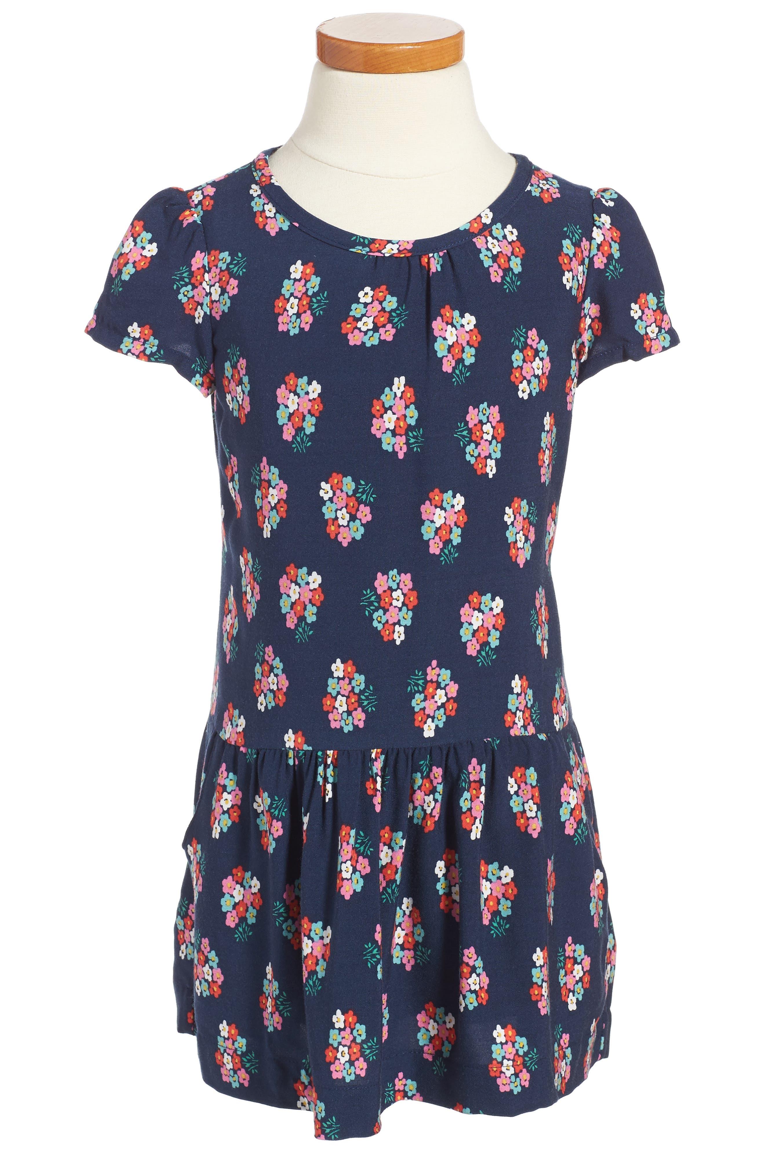 Alternate Image 1 Selected - Mini Boden Print Tea Dress (Toddler Girls, Little Girls & Big Girls)