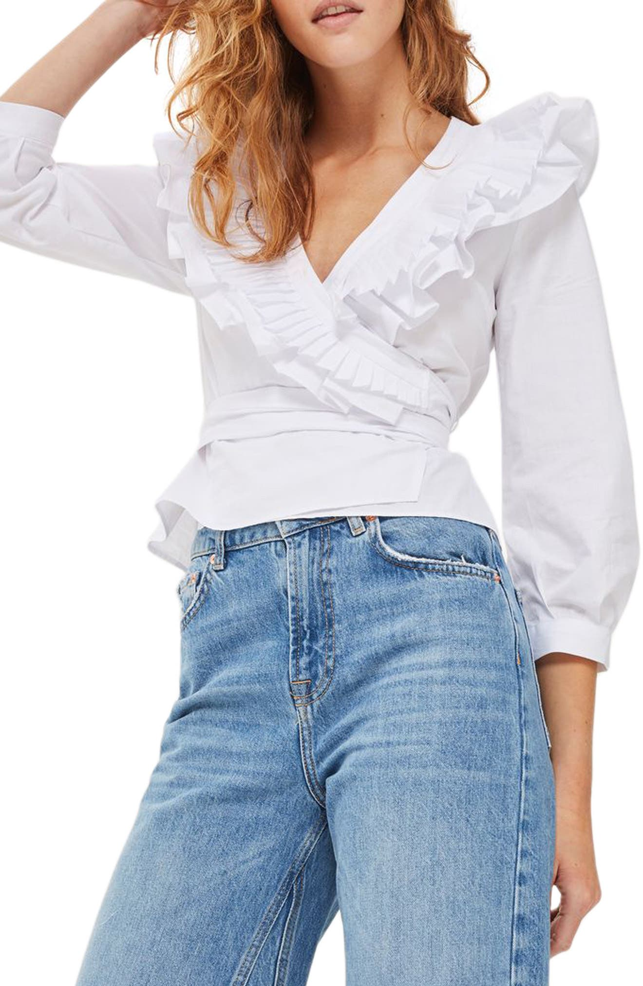 Pleat Ruffle Wrap Top,                         Main,                         color, White