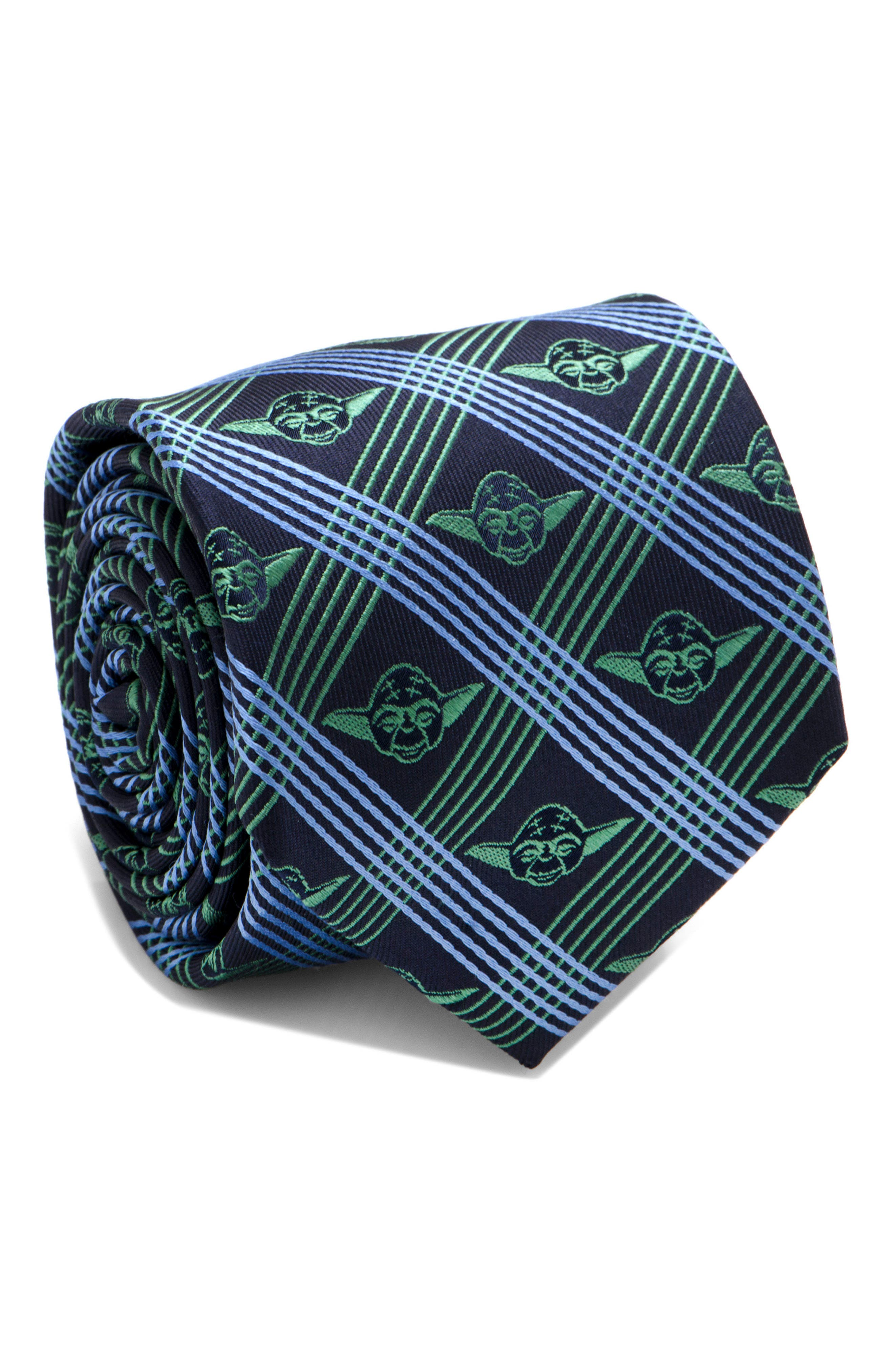 Yoda Grid Silk Tie,                         Main,                         color, Navy