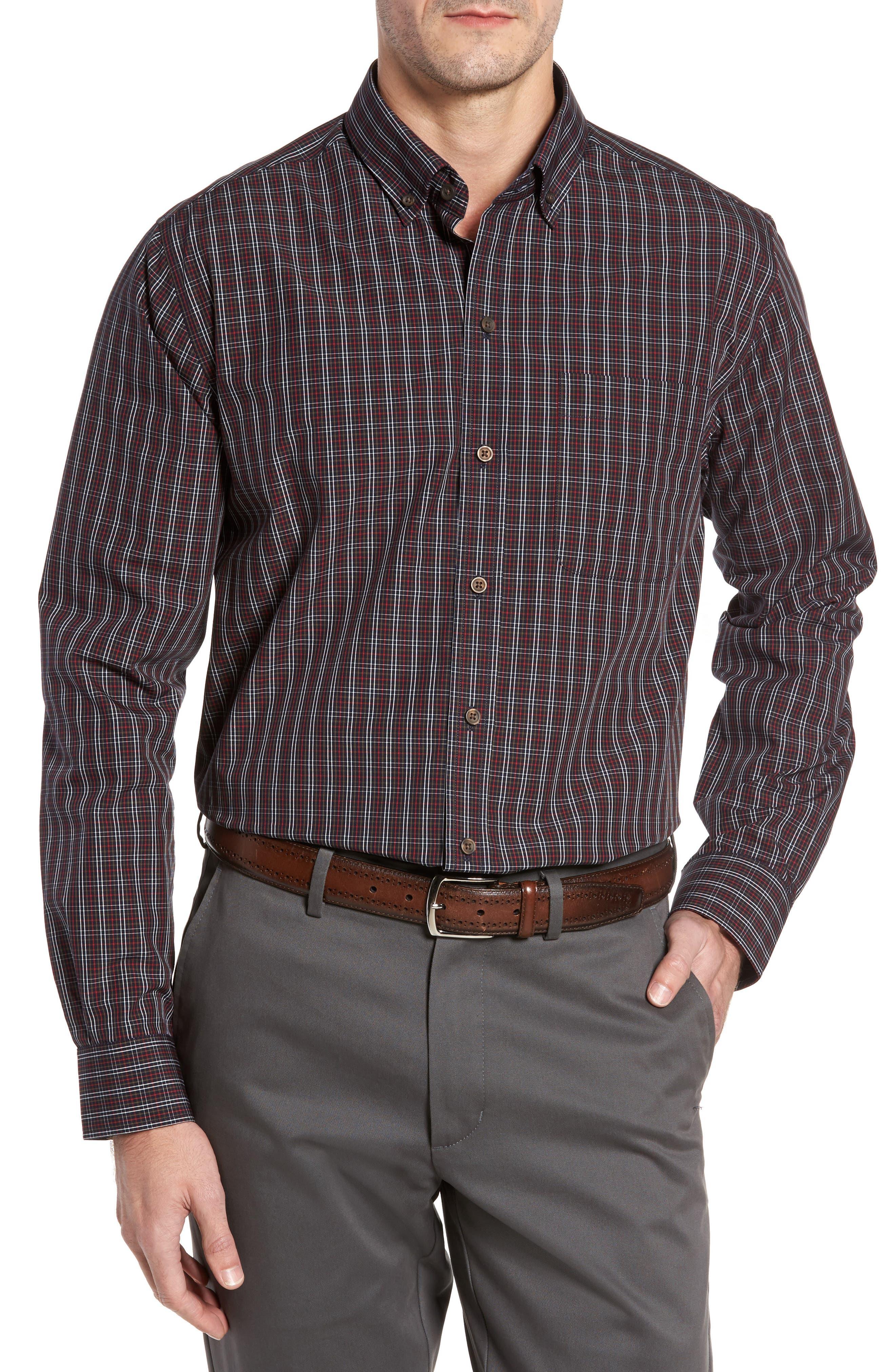 Cavanah Non-Iron Plaid Sport Shirt,                         Main,                         color, Liberty Navy