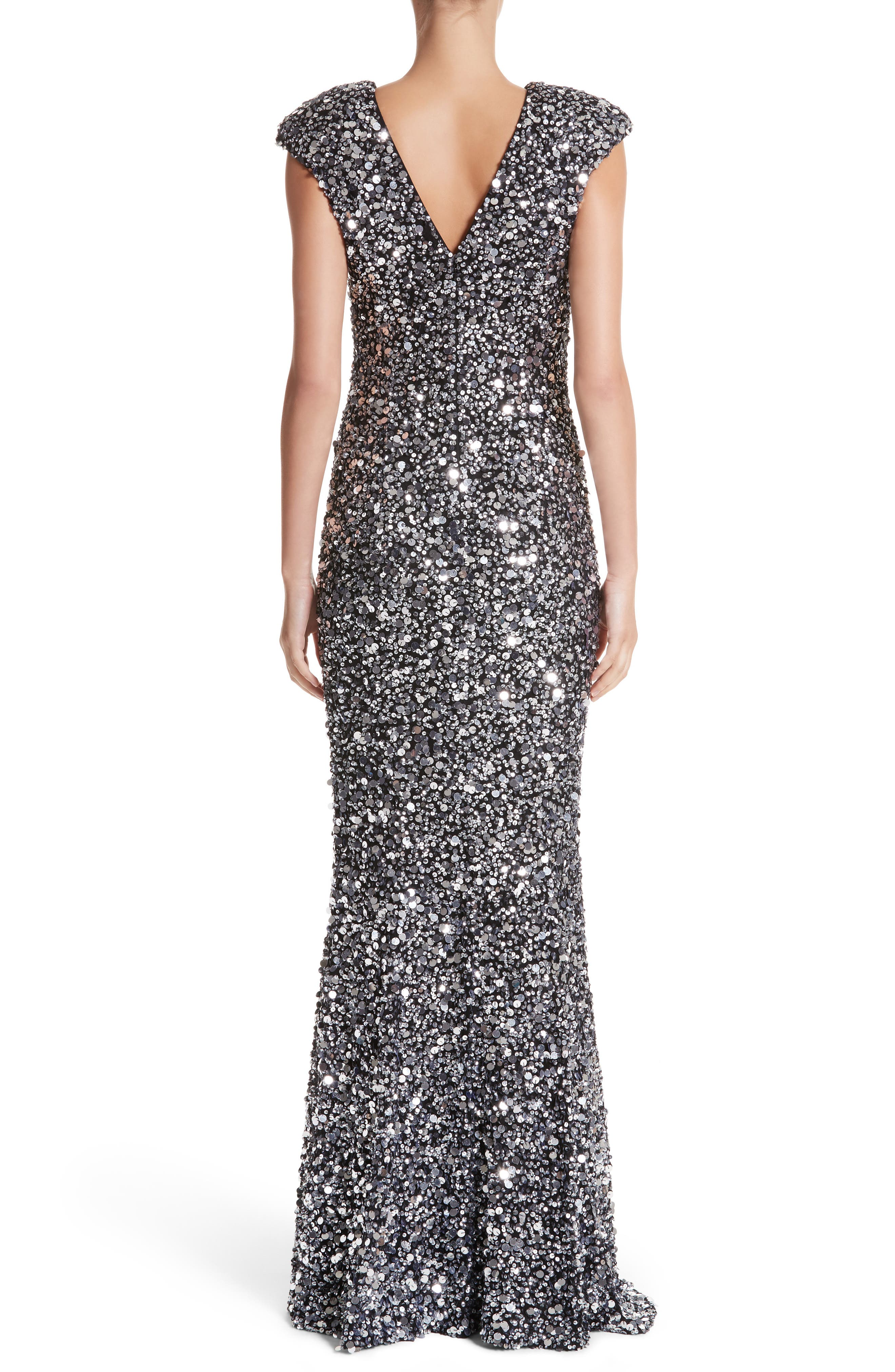 Hand Embellished Sequin Gown,                             Alternate thumbnail 3, color,                             Black/ Silver