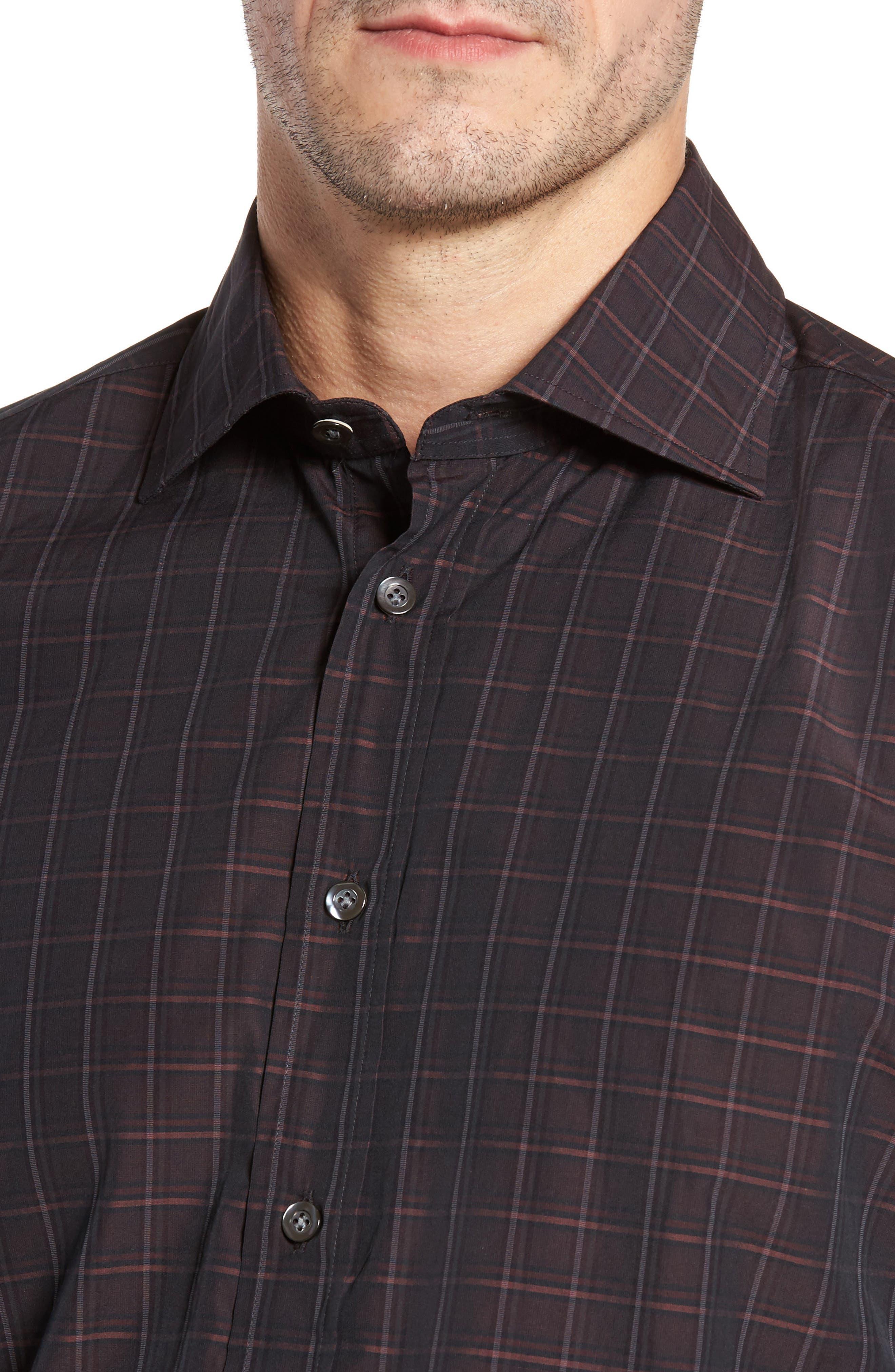 Alternate Image 6  - Luciano Barbera Trim Fit Windowpane Print Sport Shirt