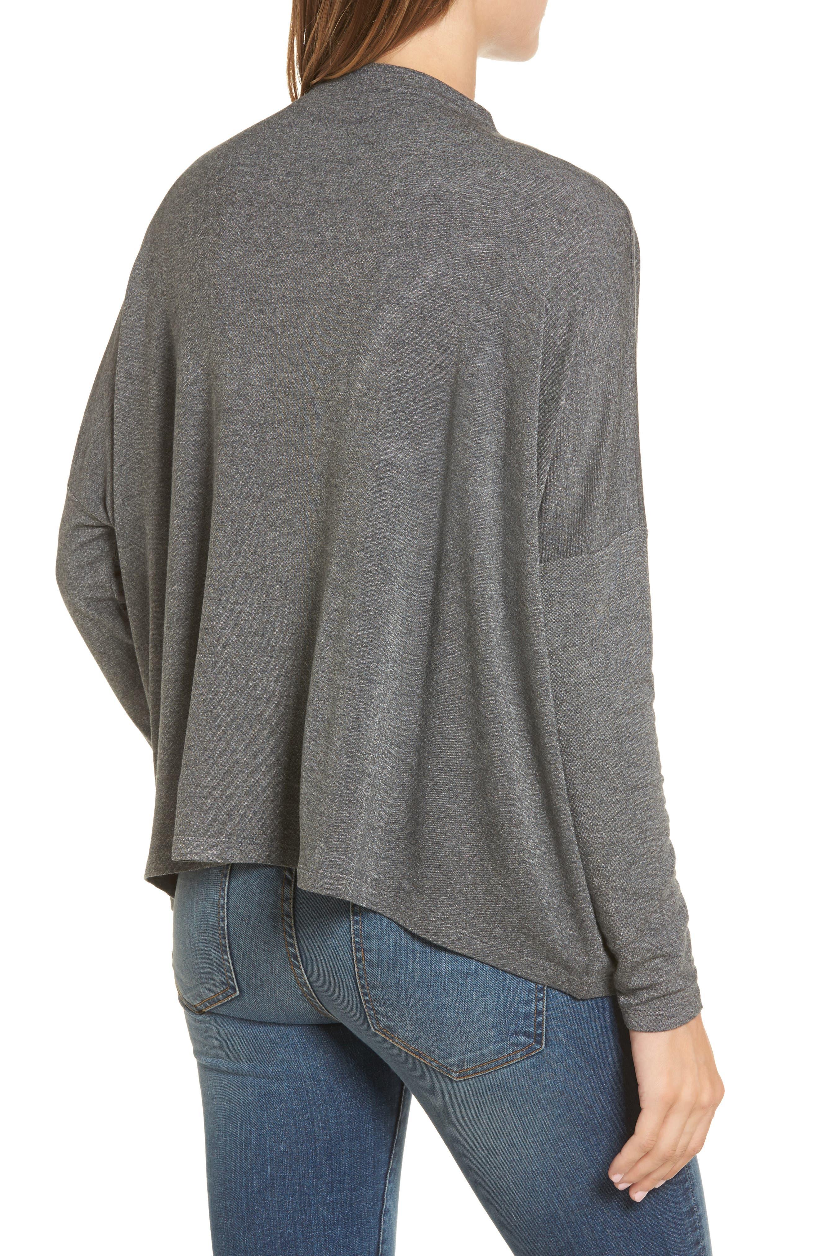High Neck Sweatshirt,                             Alternate thumbnail 2, color,                             Charcoal Mix
