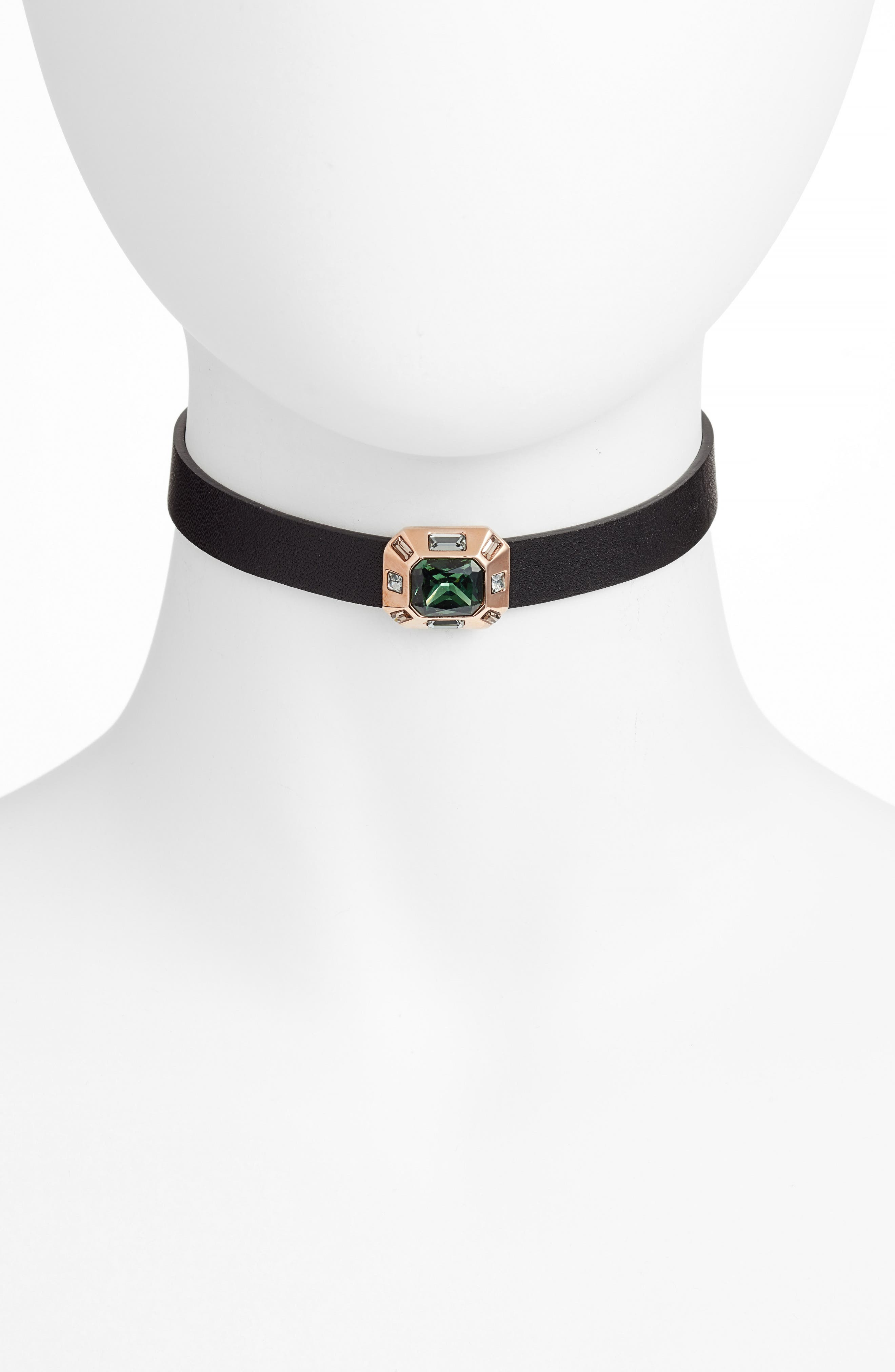 Leather Choker Necklace,                         Main,                         color, Burnt Rose Gold