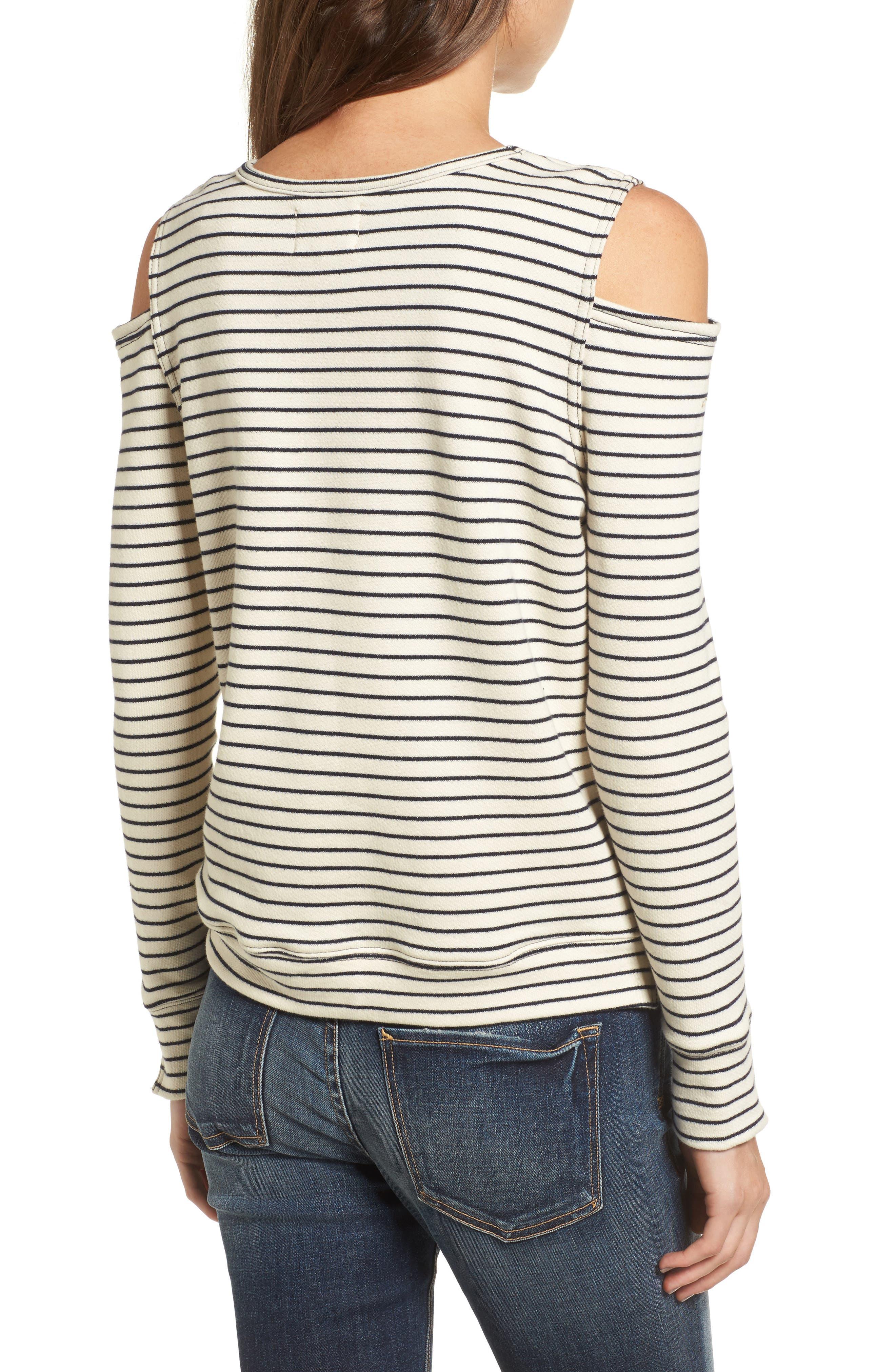 Wildair Cold Shoulder Sweatshirt,                             Alternate thumbnail 2, color,                             Ski Stripe