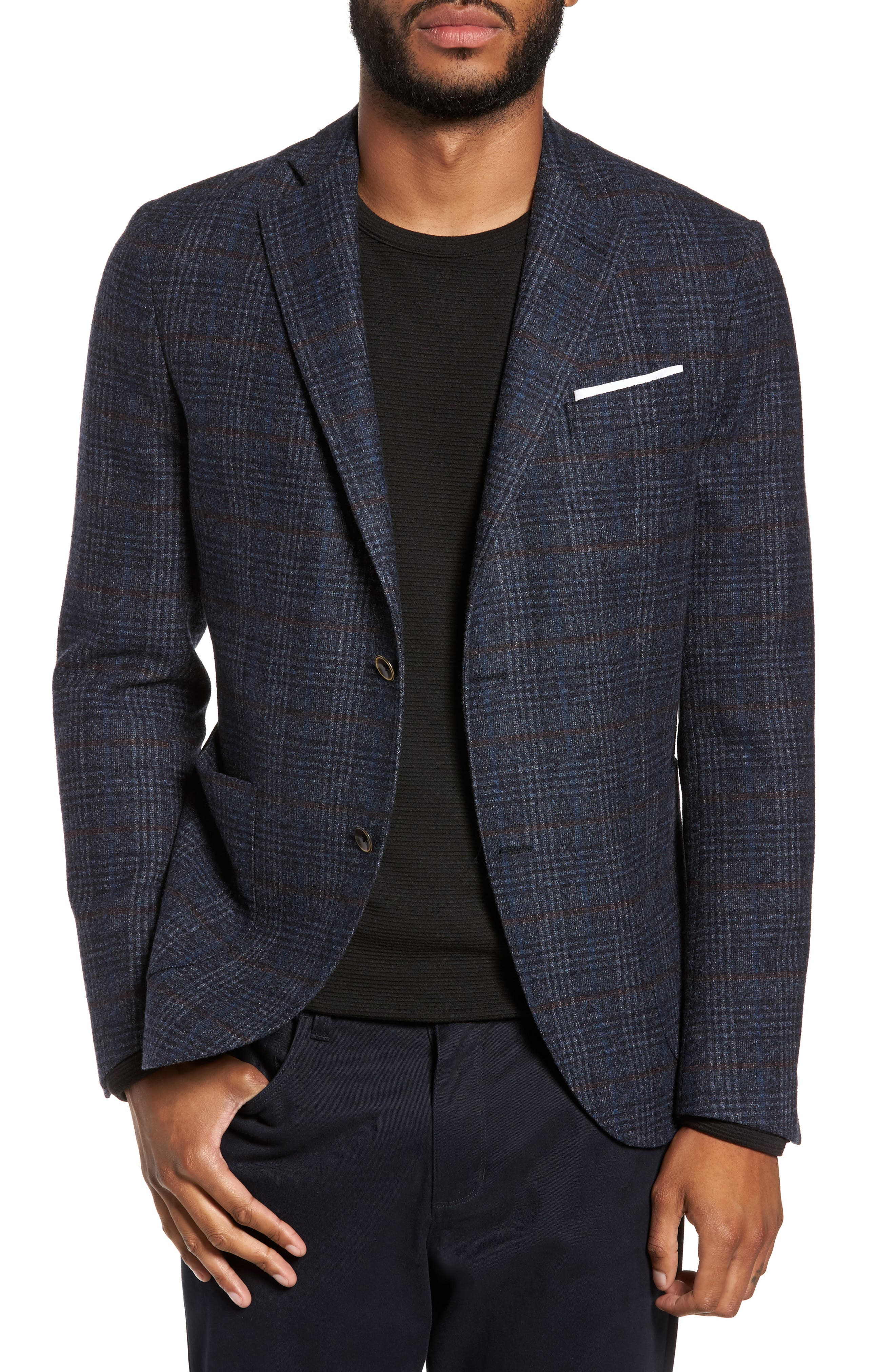 Plaid Sport Coat,                         Main,                         color, Indigo