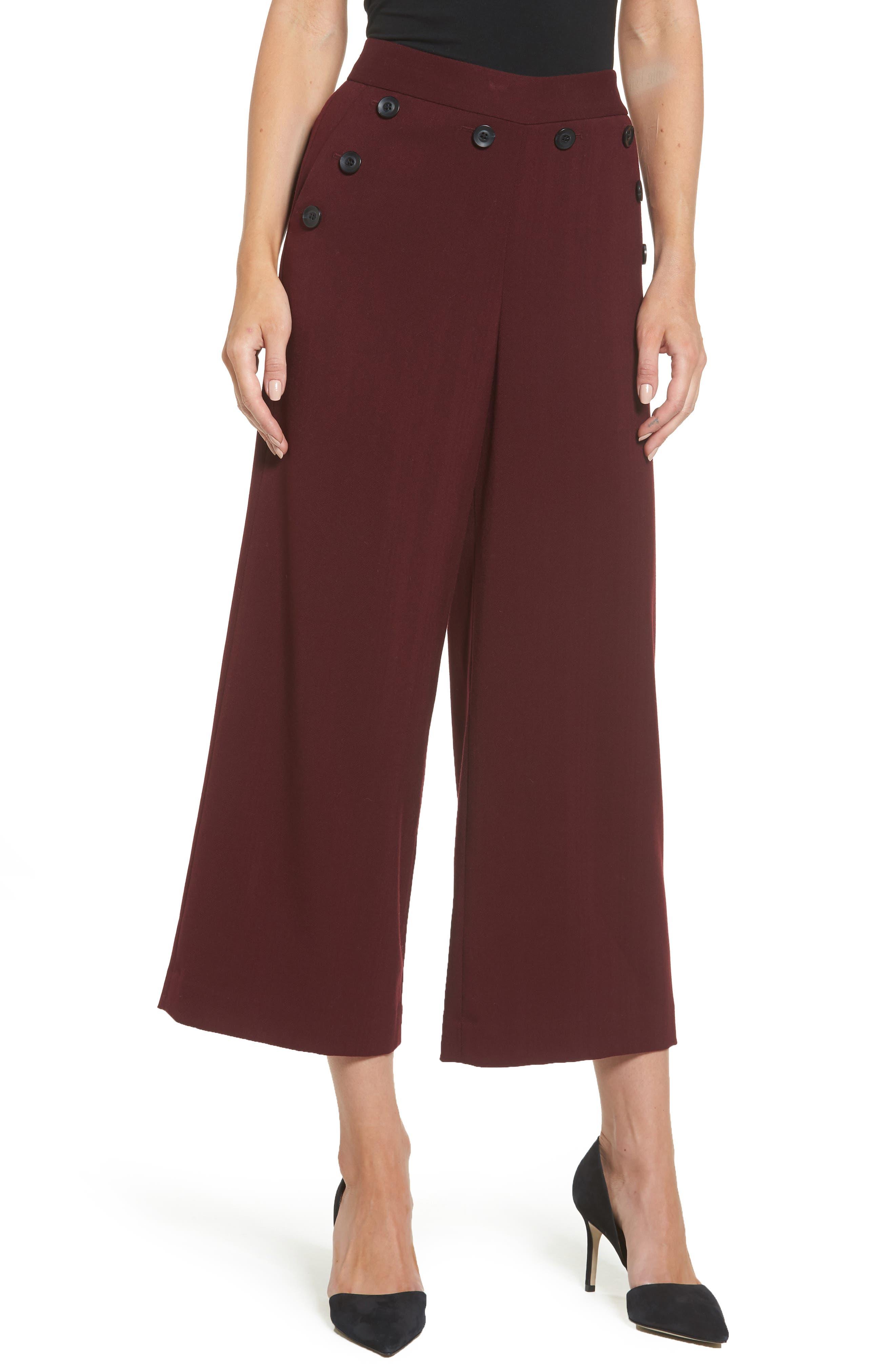 Halogen® Plaid Wide Leg Crop Pants (Regular & Petite)