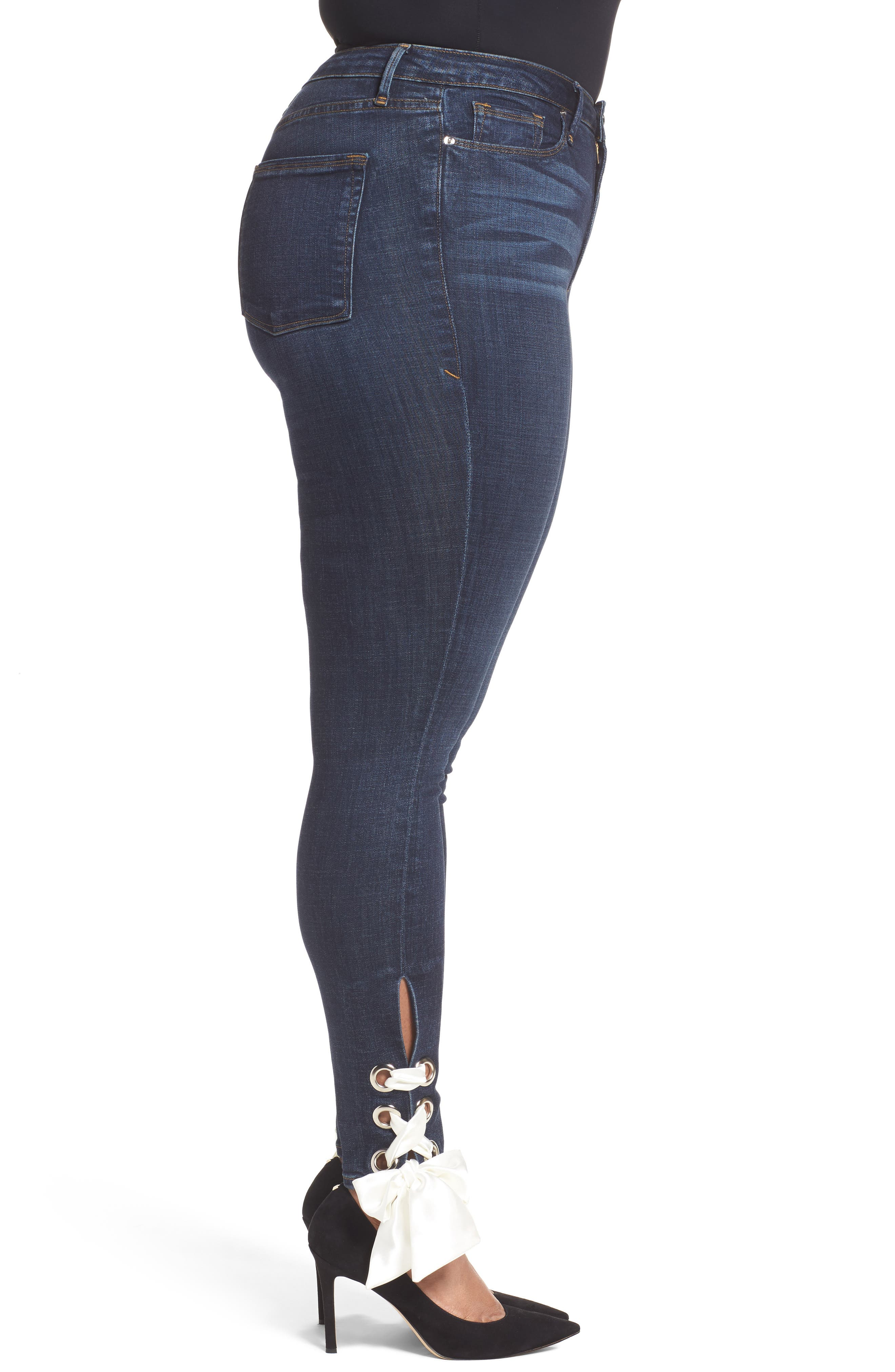 Alternate Image 8  - Good American Good Waist Ultra High Waist Ankle Skinny Jeans (Blue 102) (Regular & Plus Size)