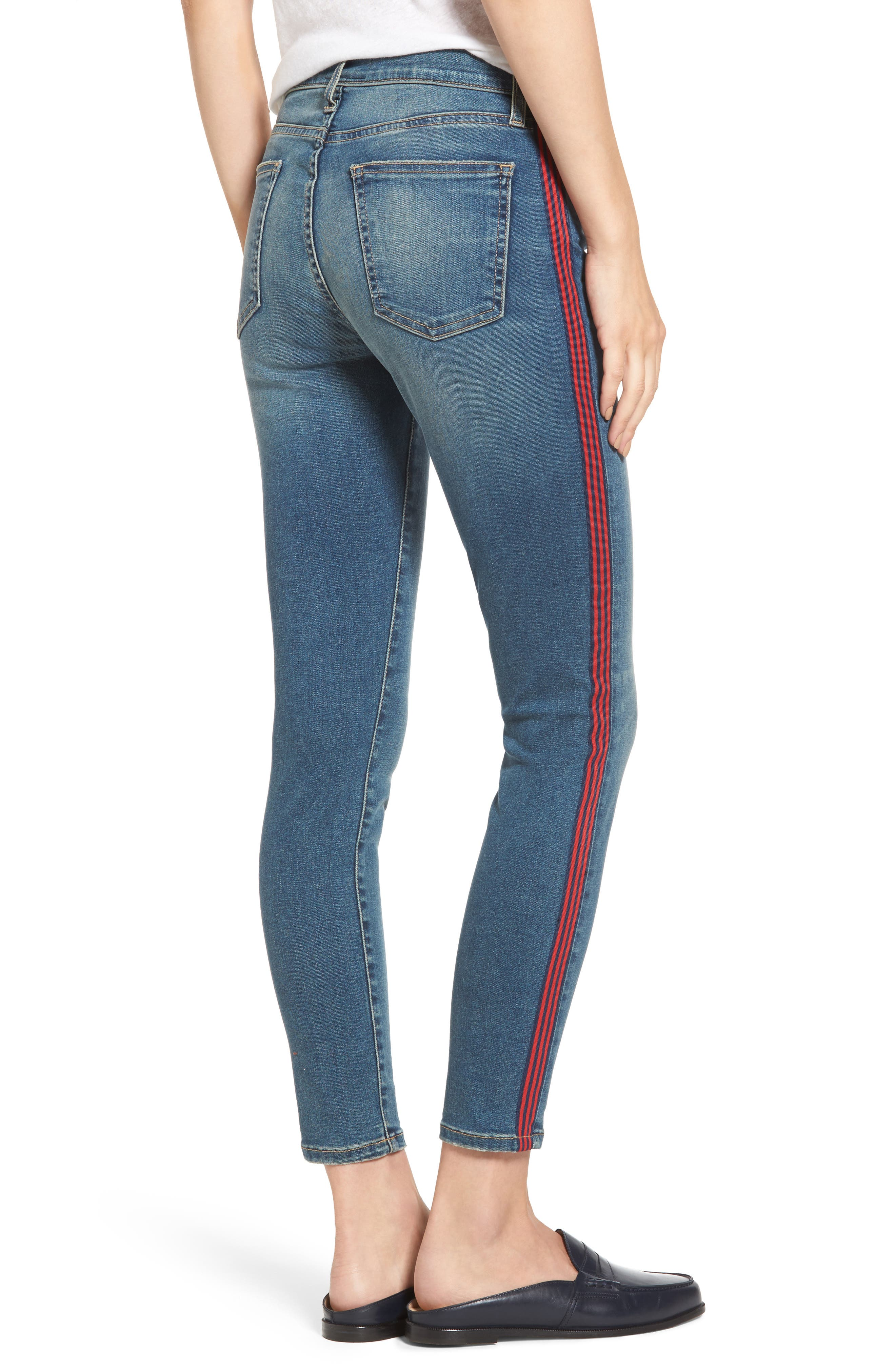 Alternate Image 2  - Current/Elliott The High Waist Stiletto Ankle Skinny Jeans (Powell/Applied Stripe)