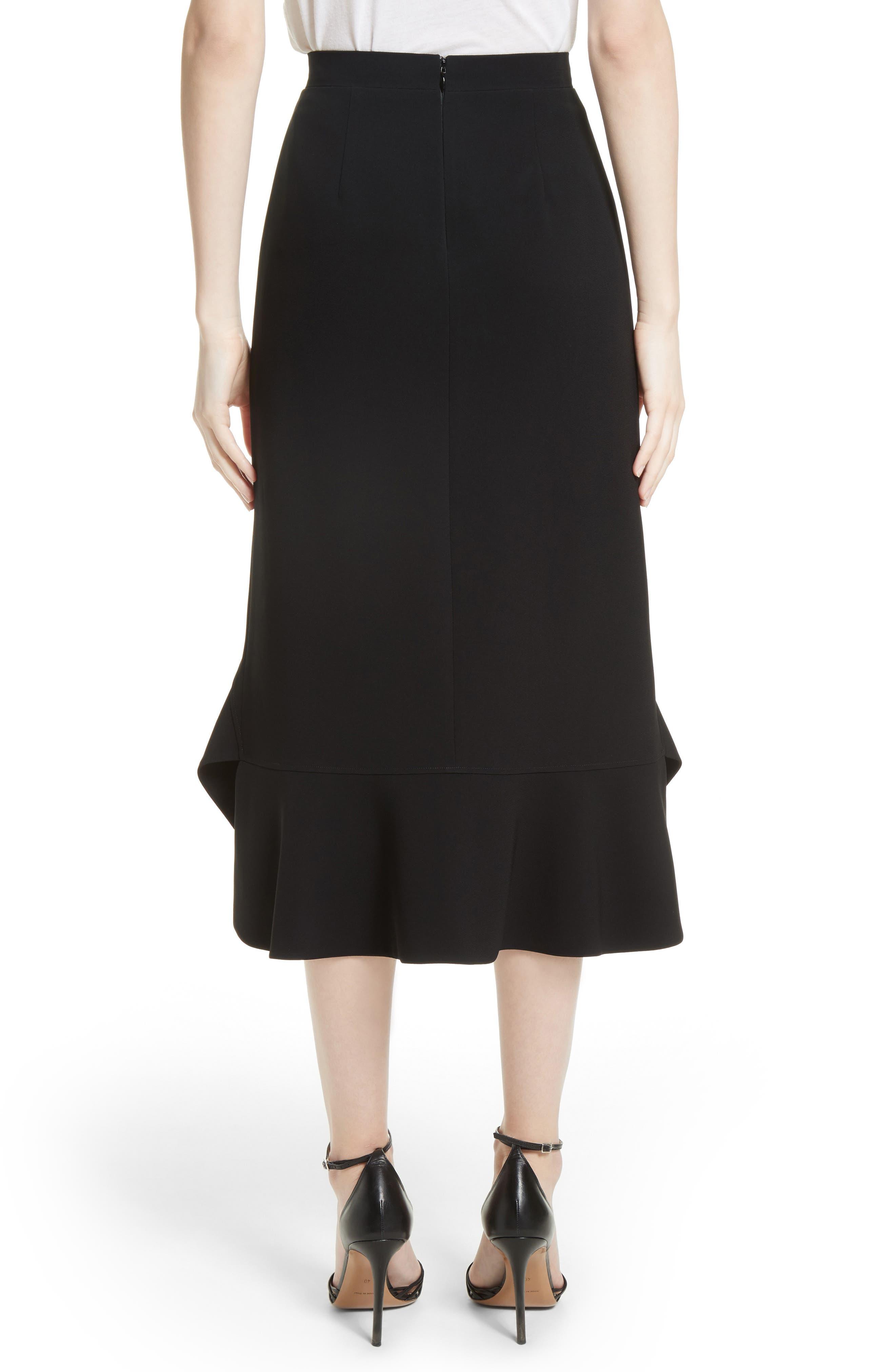 Drape Hem Midi Skirt,                             Alternate thumbnail 2, color,                             Black