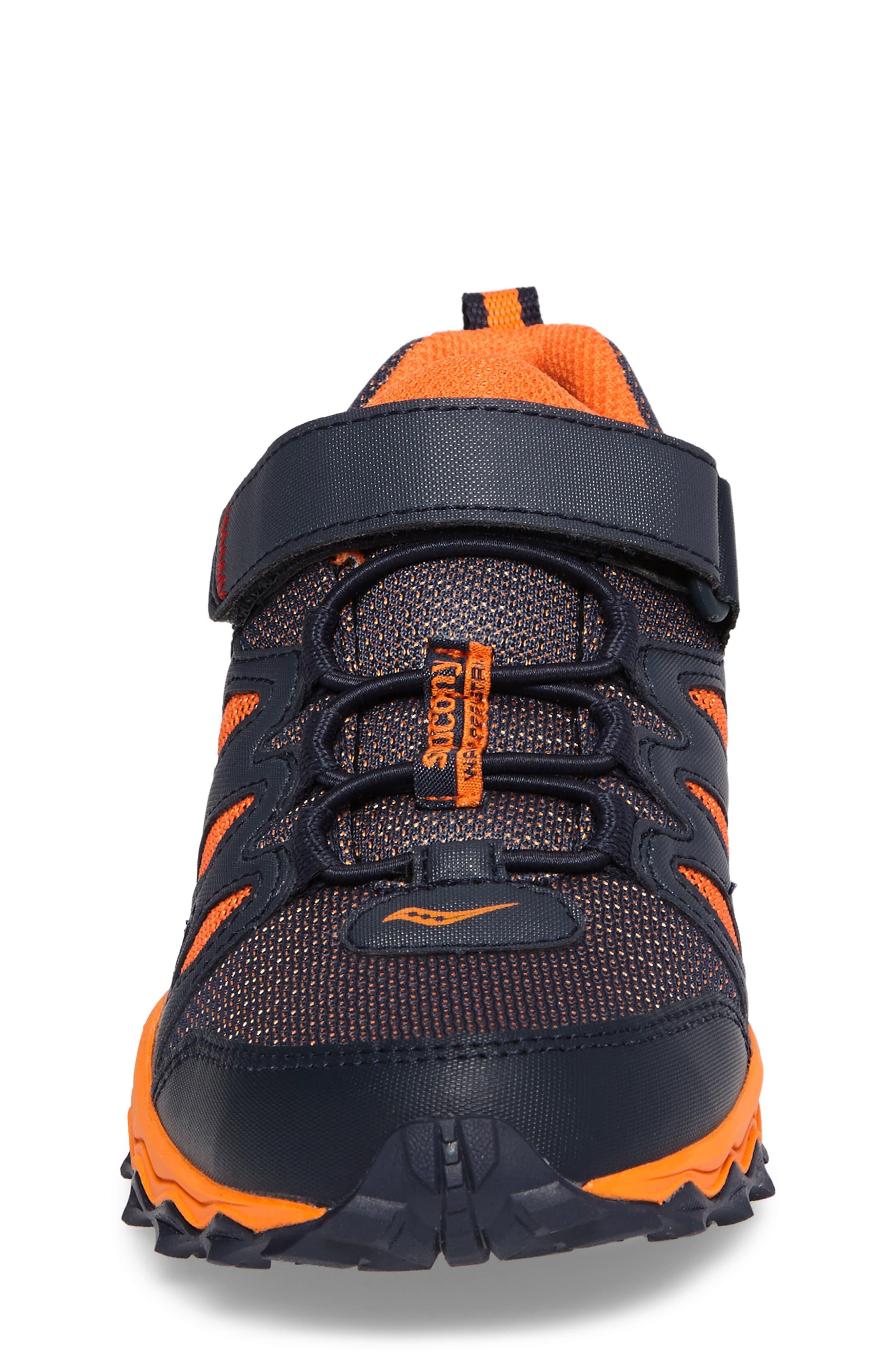Peregrine Shield Water-Resistant Sneaker,                             Alternate thumbnail 4, color,                             Navy/ Orange
