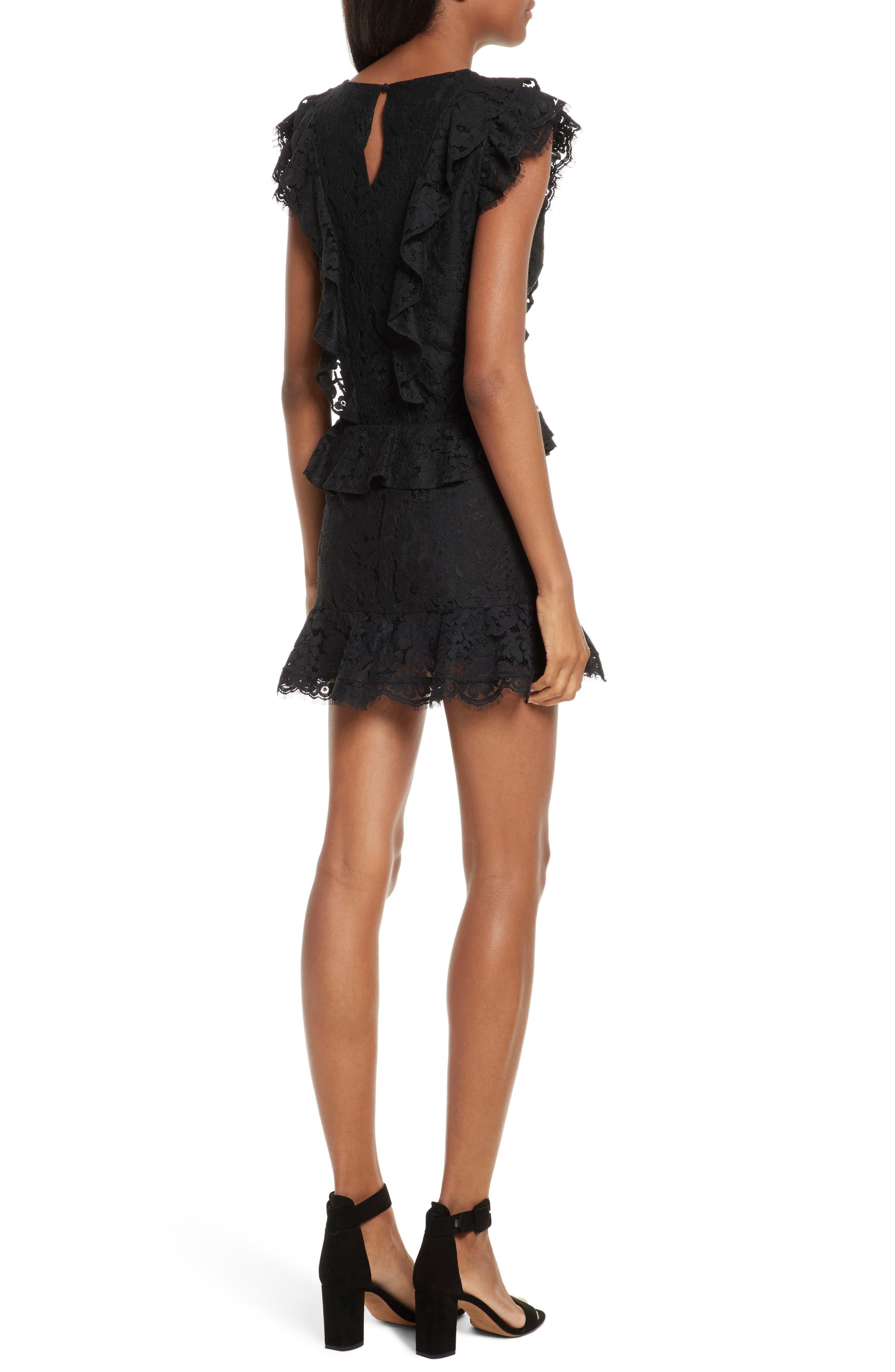 Acostas Ruffle & Lace Dress,                             Alternate thumbnail 2, color,                             Caviar