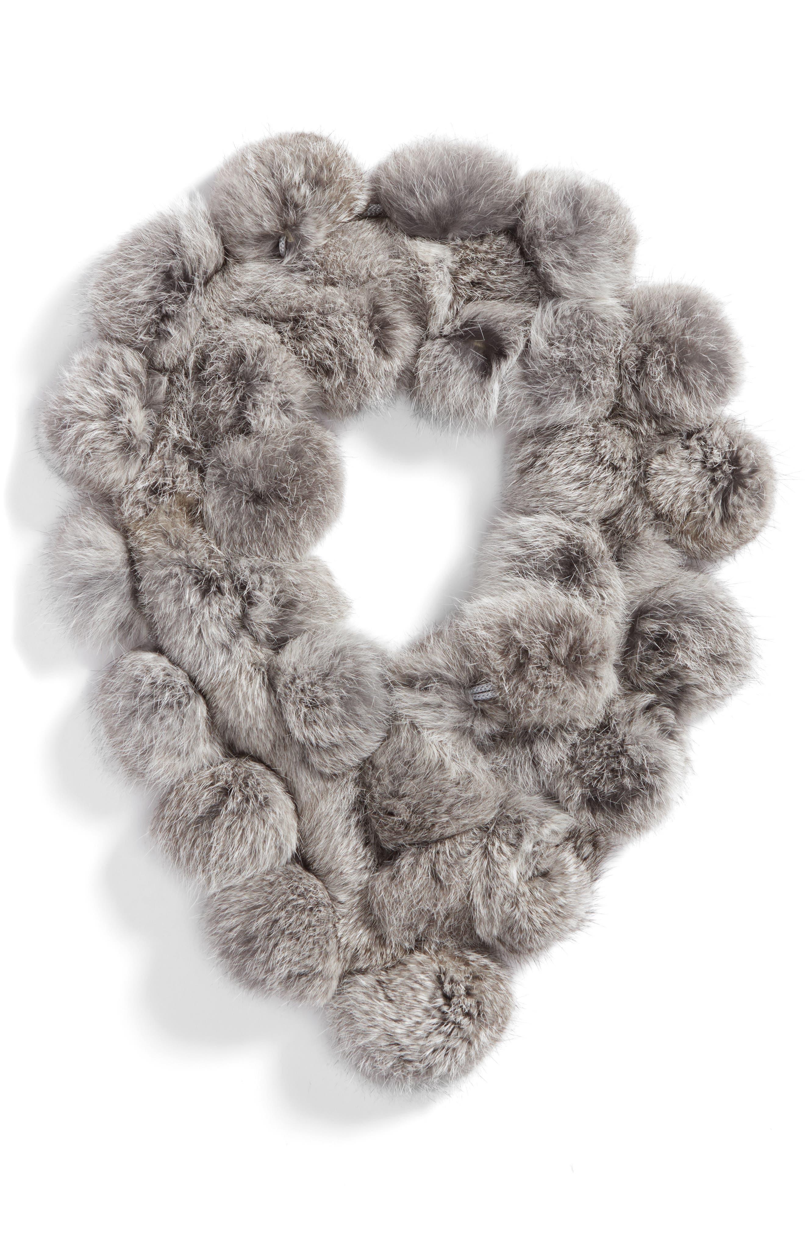 Genuine Rabbit Fur Scarf,                             Alternate thumbnail 3, color,                             Grey