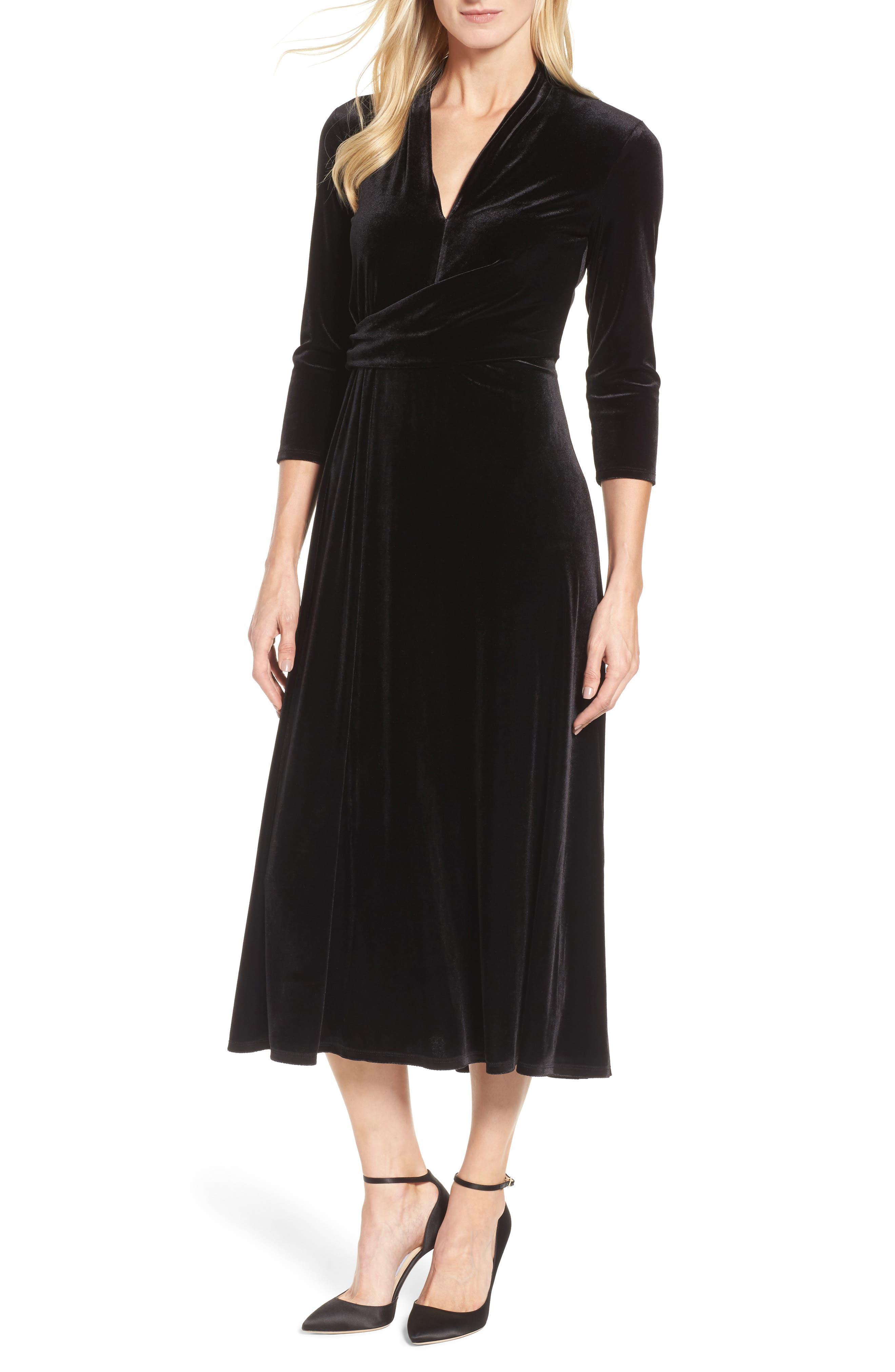 Chaus Velvet Tea Length Dress