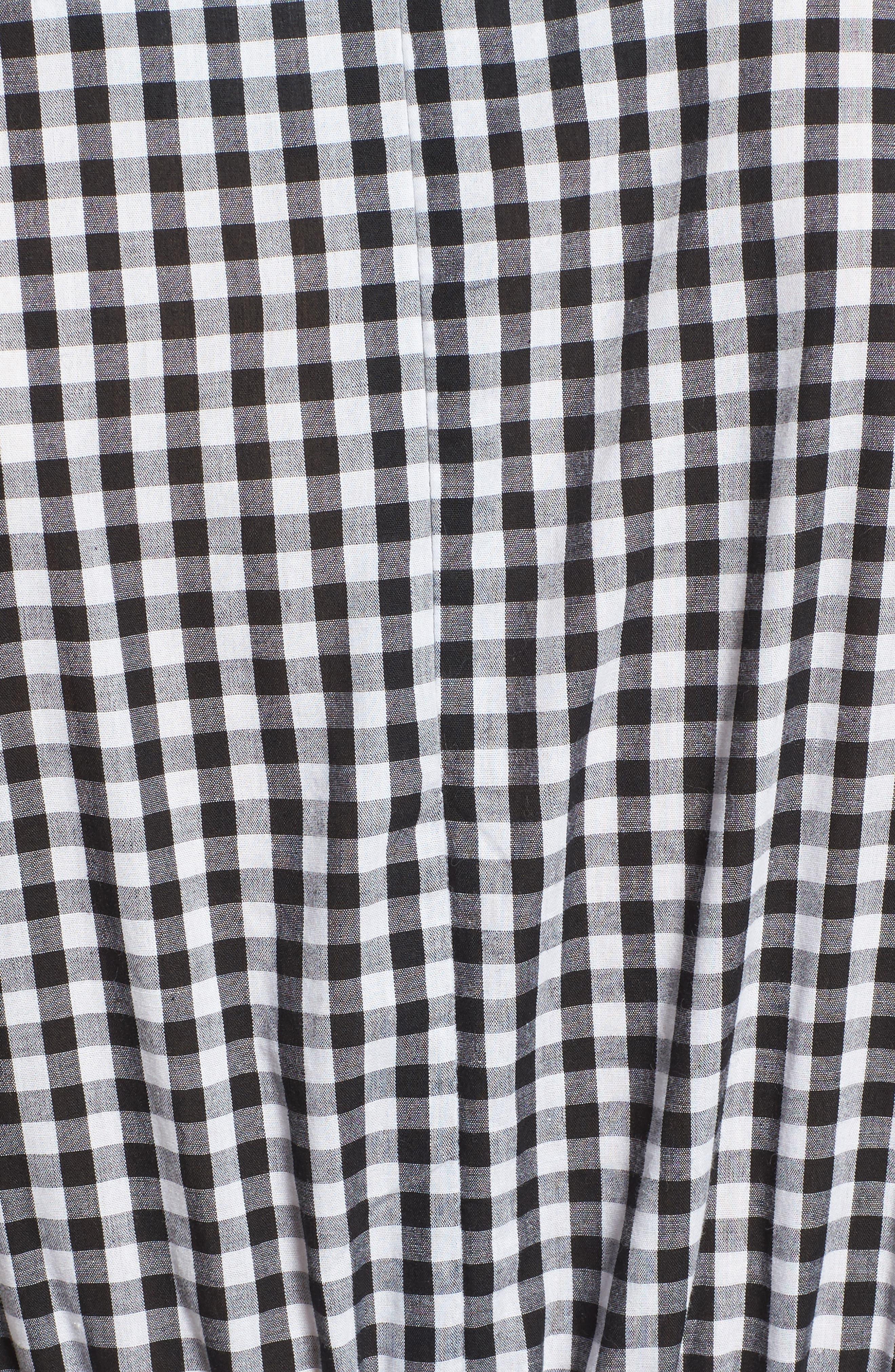 Beauty Buzz Midi Dress,                             Alternate thumbnail 5, color,                             Checkered Black