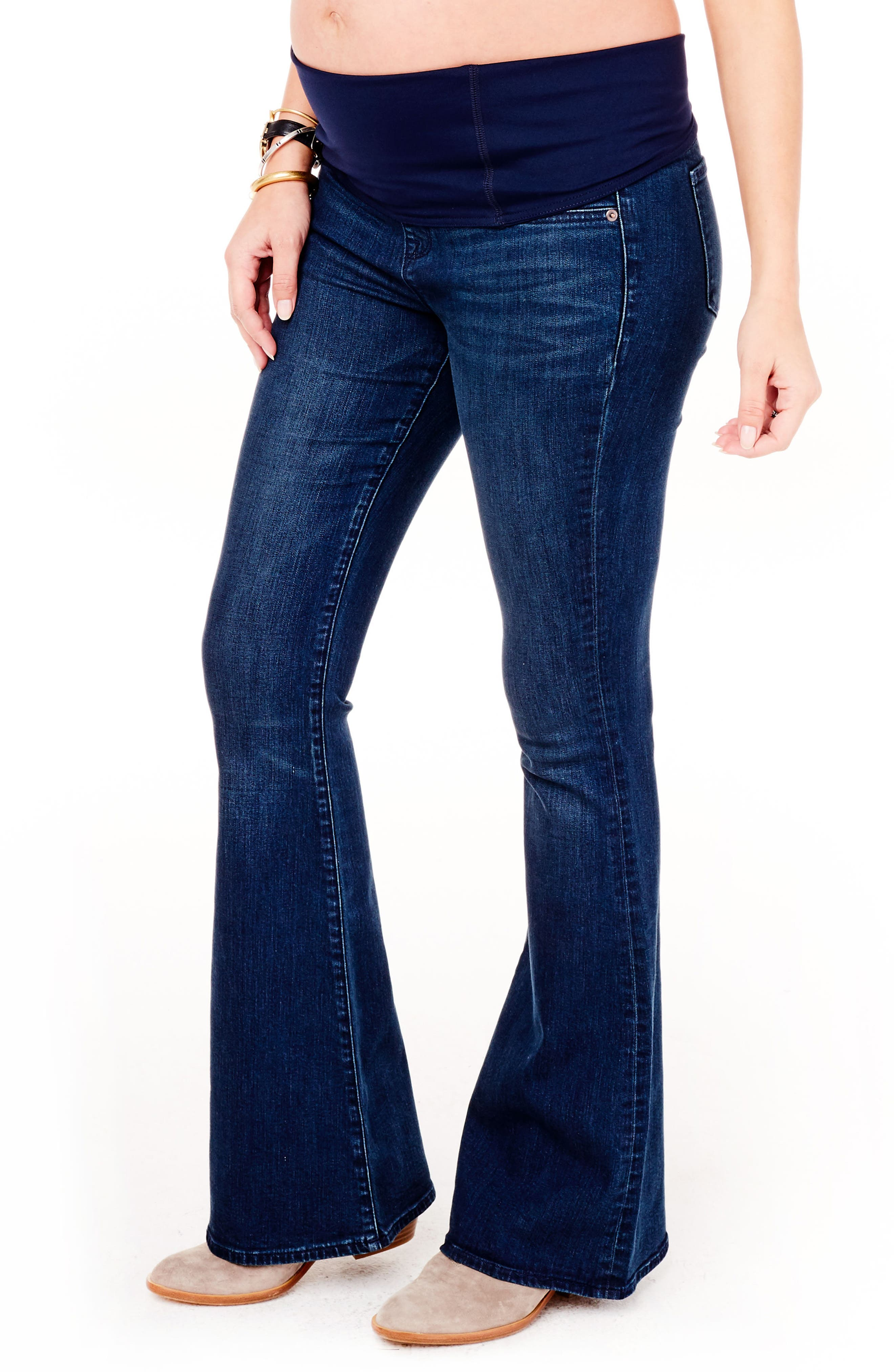 Alternate Image 4  - Ingrid & Isabel® Gracie Flare Maternity Jeans (True Blue)