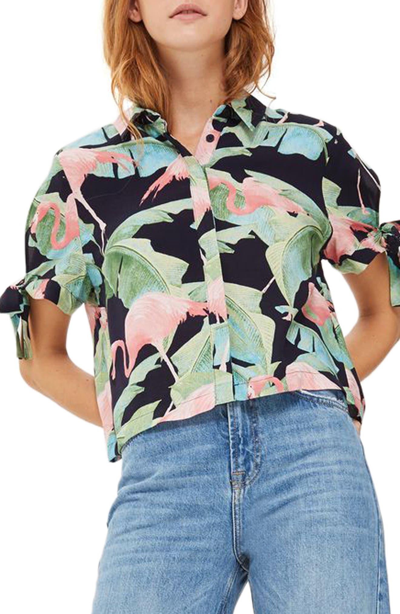 Topshop Tropical Flamingo Print Shirt