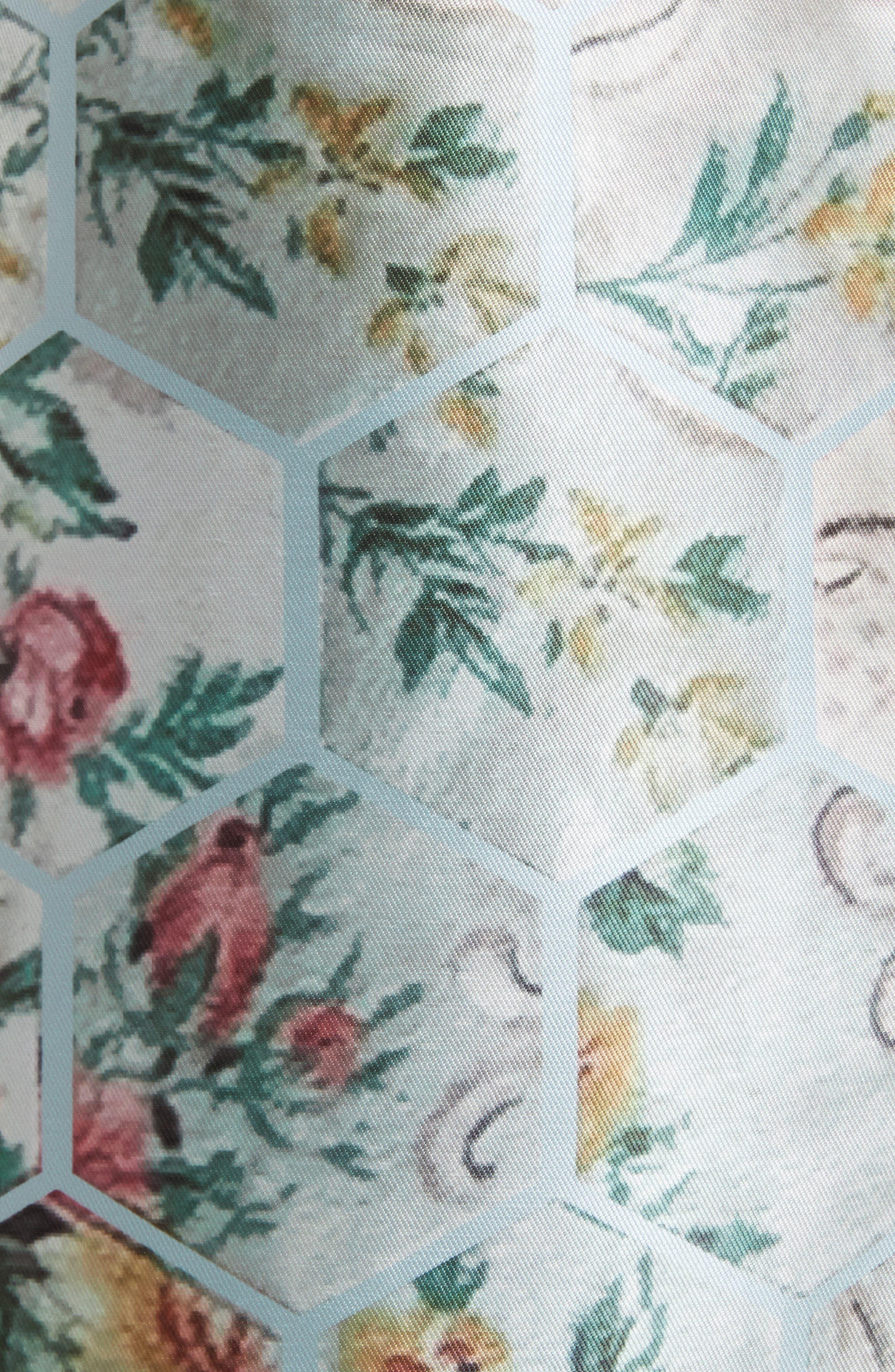 Dewrose Patchwork A-line Dress,                             Alternate thumbnail 5, color,                             Pale Blue