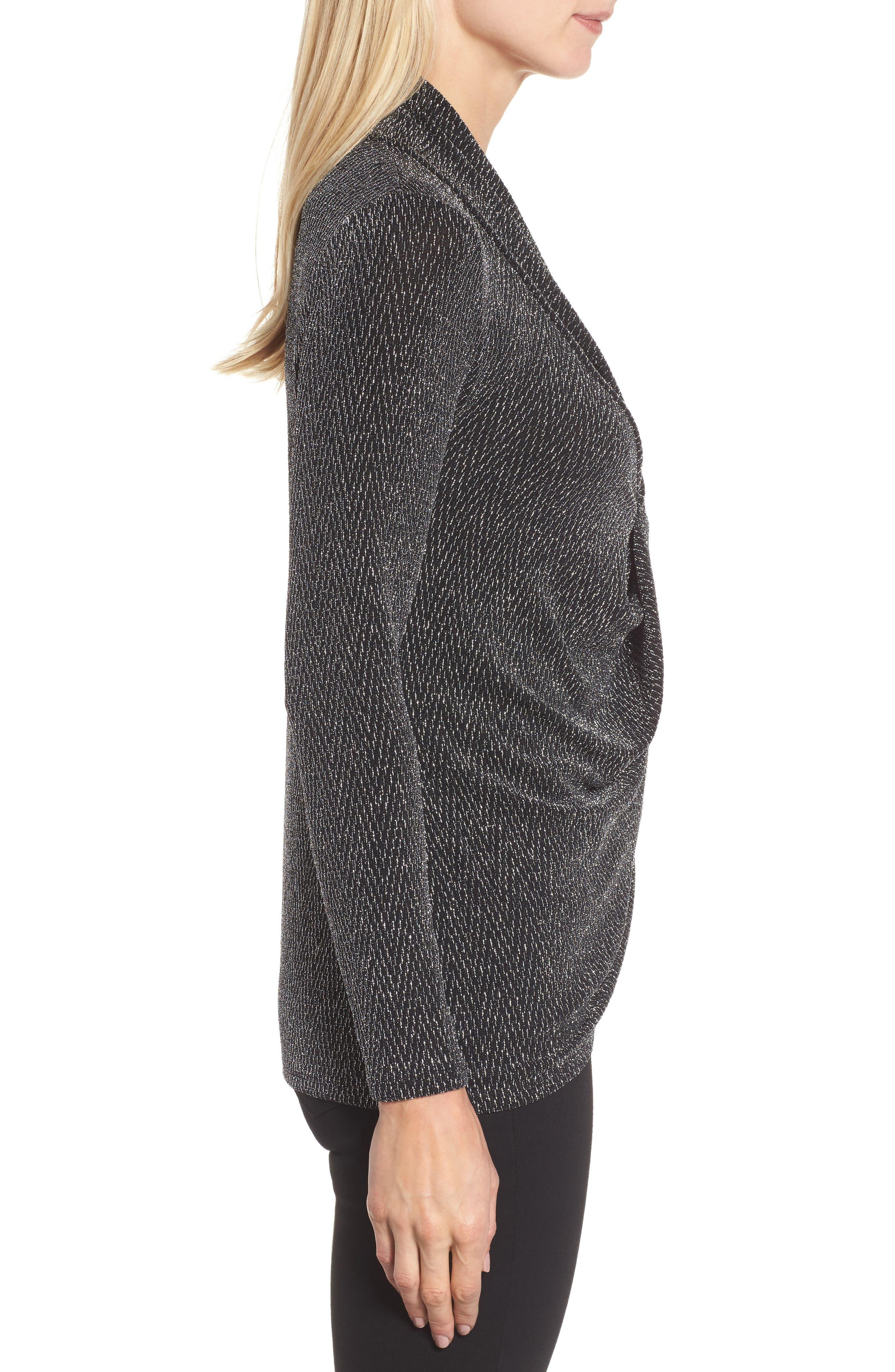 Alternate Image 3  - Chaus Long Drape Front Sparkle Knit Top