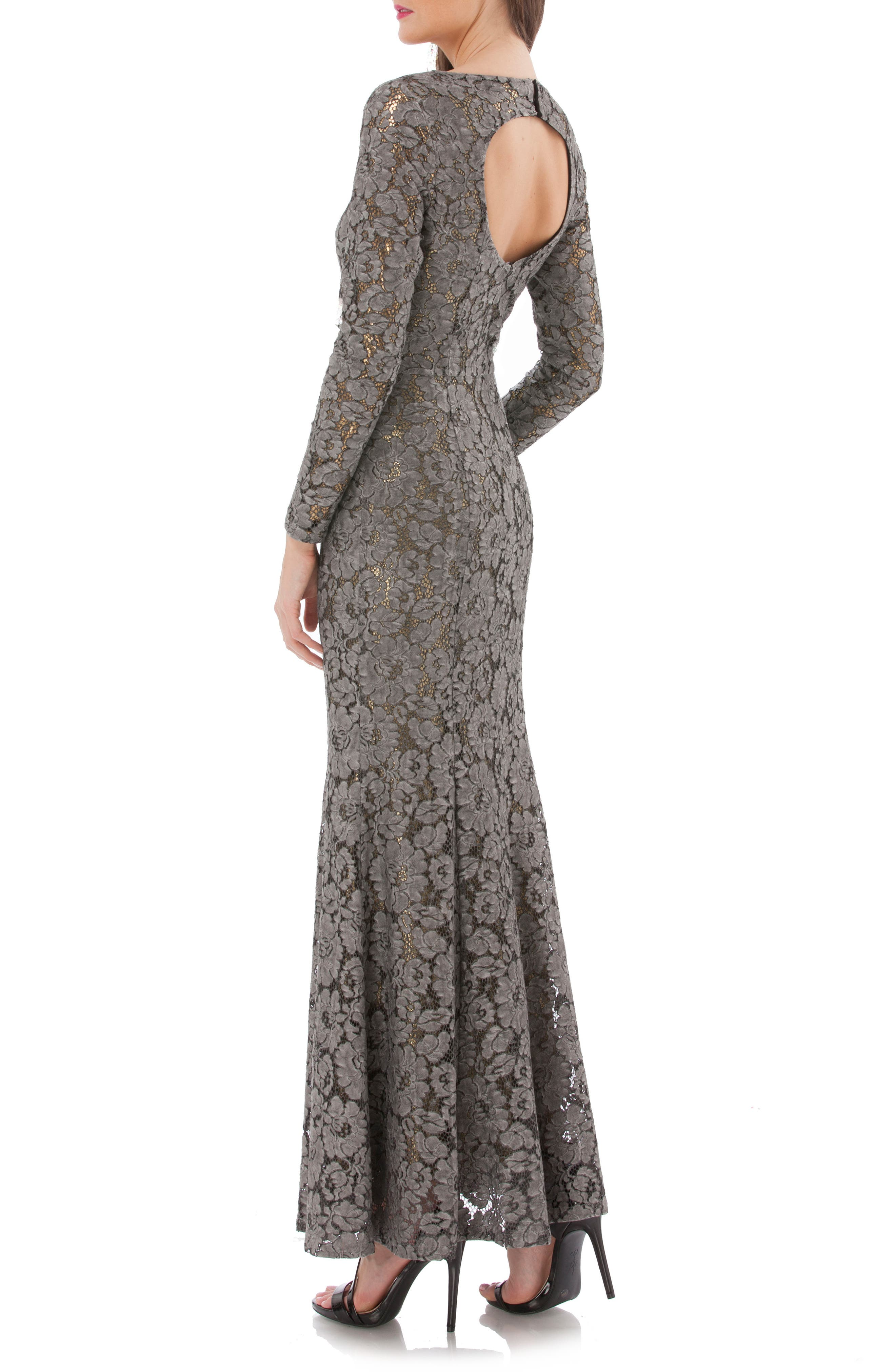 Open Back Lace Gown,                             Alternate thumbnail 2, color,                             Black/ Gold