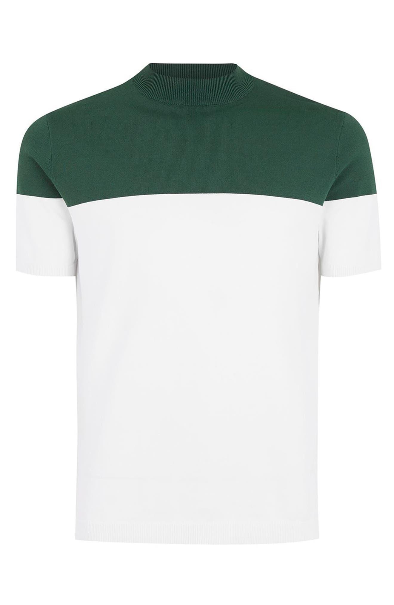 Colorblock Mock Neck Sweater,                             Alternate thumbnail 4, color,                             Green Multi