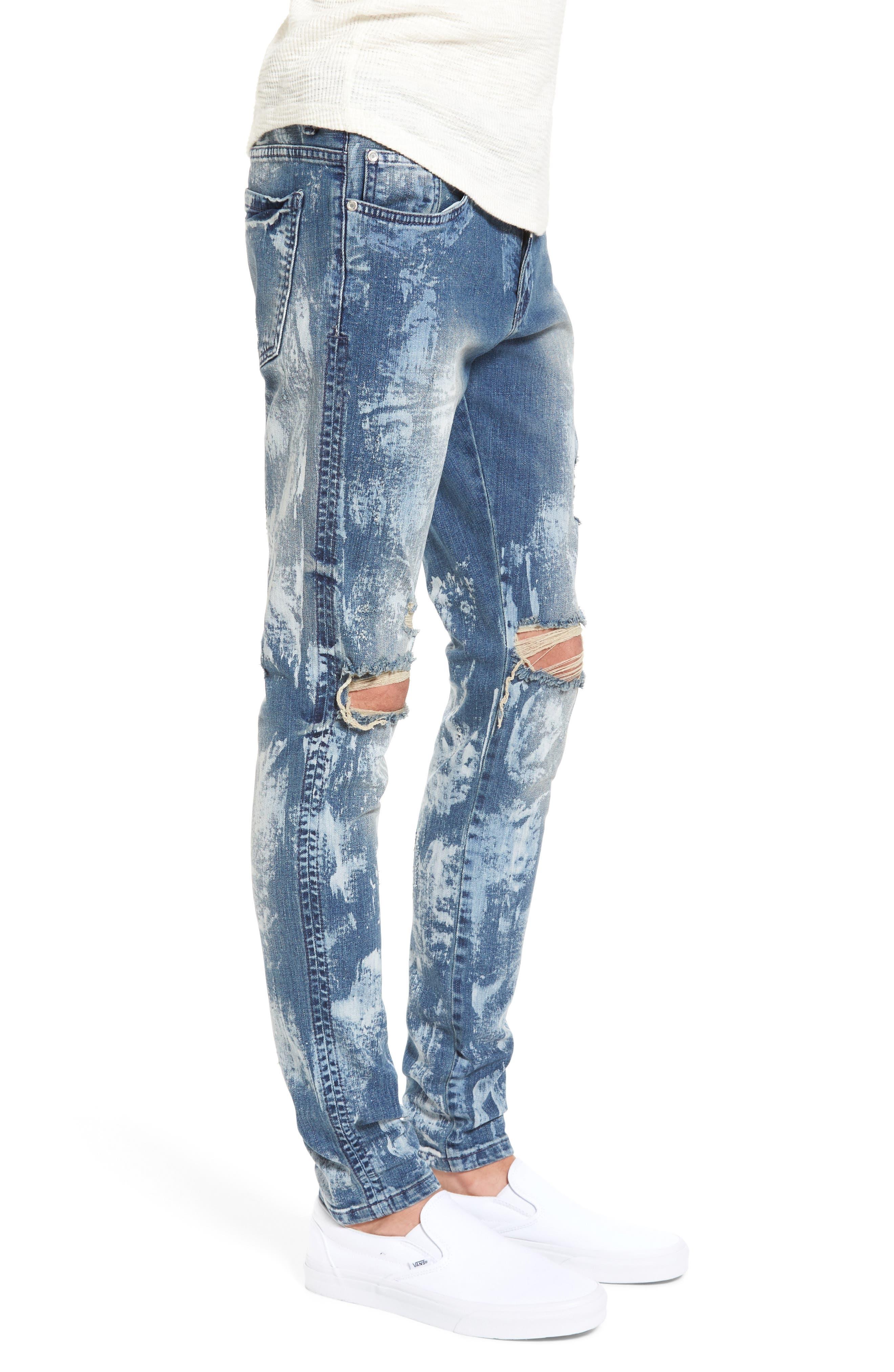 Slim Fit Destroyed Jeans,                             Alternate thumbnail 3, color,                             Heavy Bleach