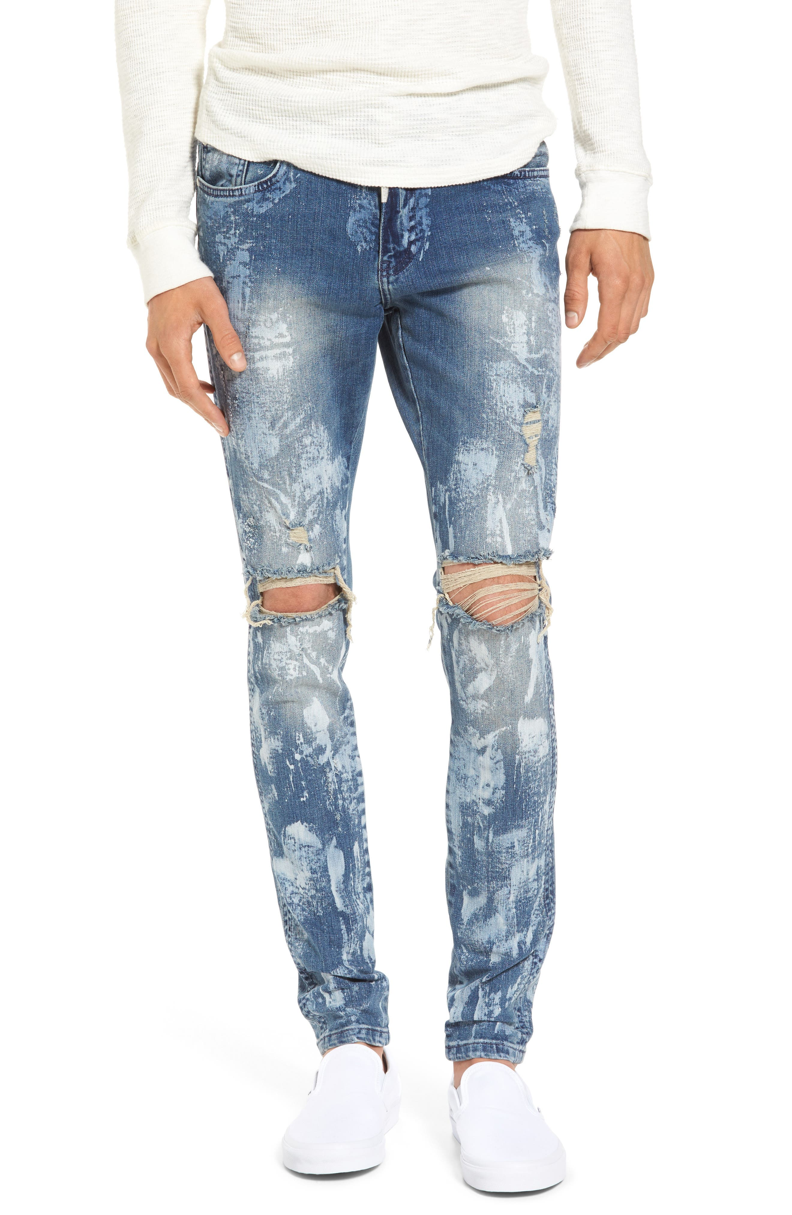 Slim Fit Destroyed Jeans,                             Main thumbnail 1, color,                             Heavy Bleach
