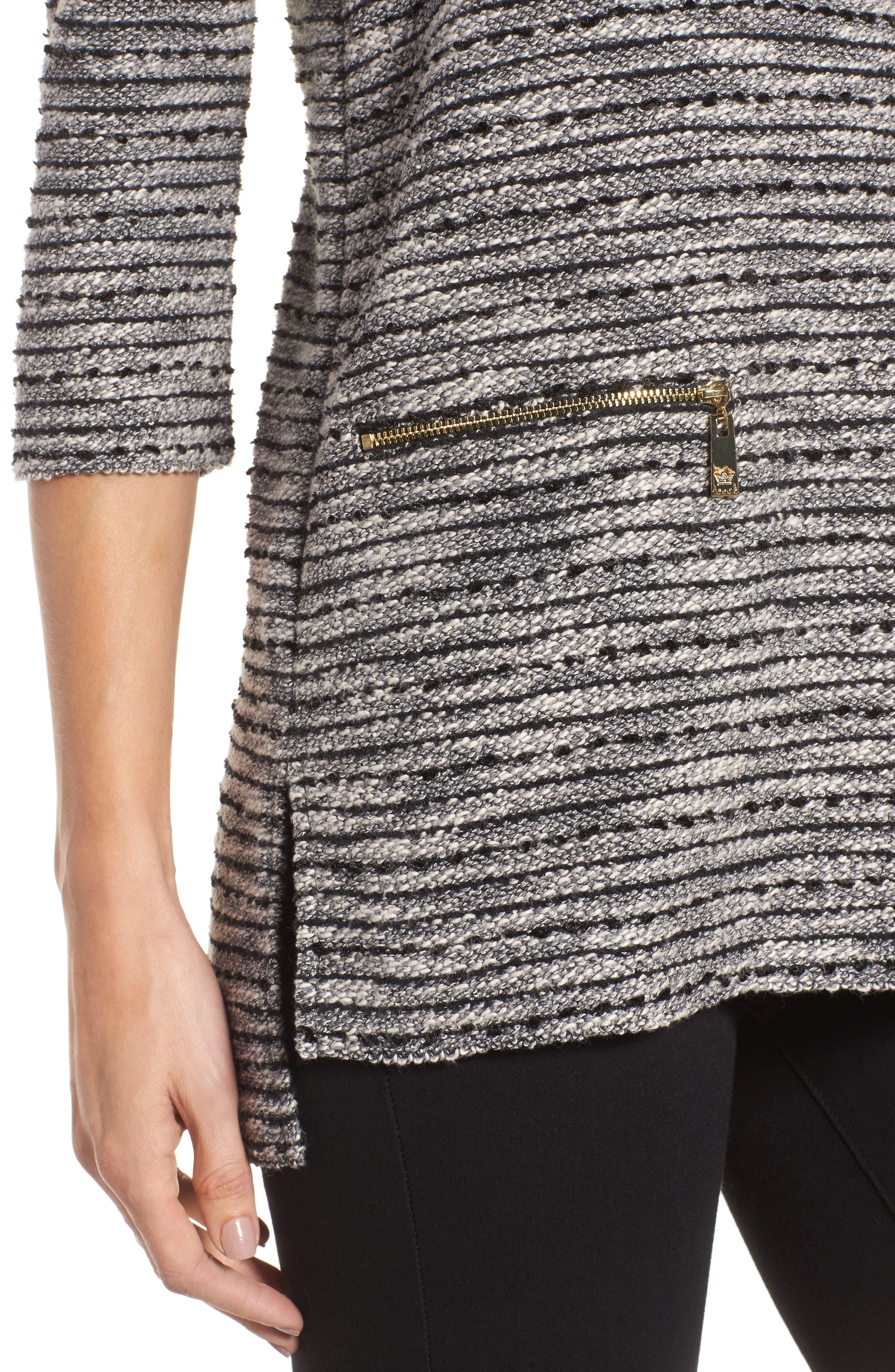 Zip Pocket Slubby Knit Top,                             Alternate thumbnail 4, color,                             Rich Black