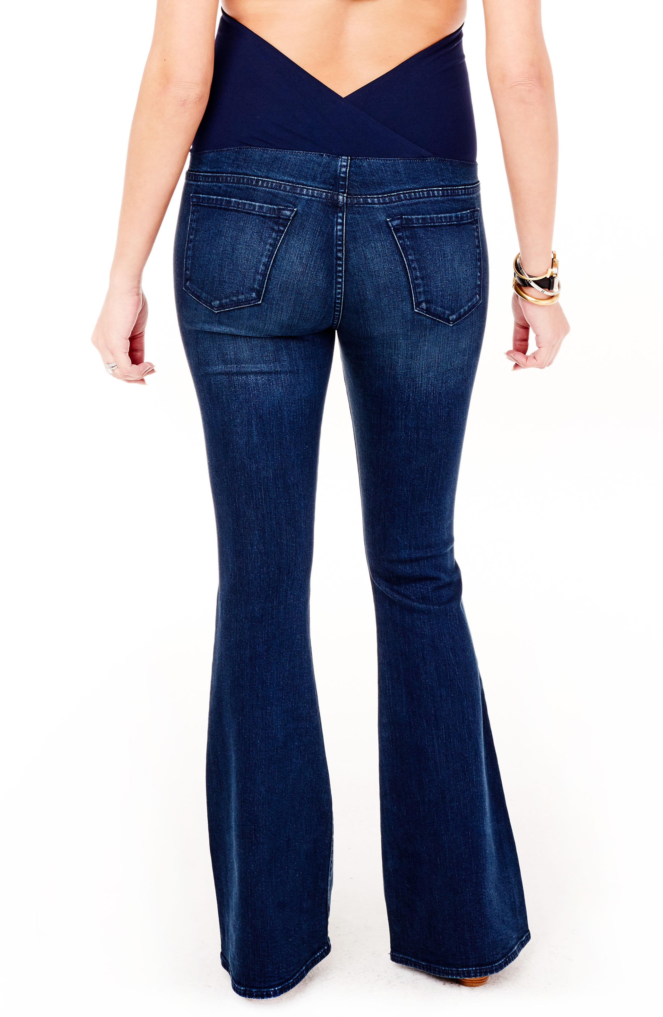Alternate Image 3  - Ingrid & Isabel® Gracie Flare Maternity Jeans (True Blue)