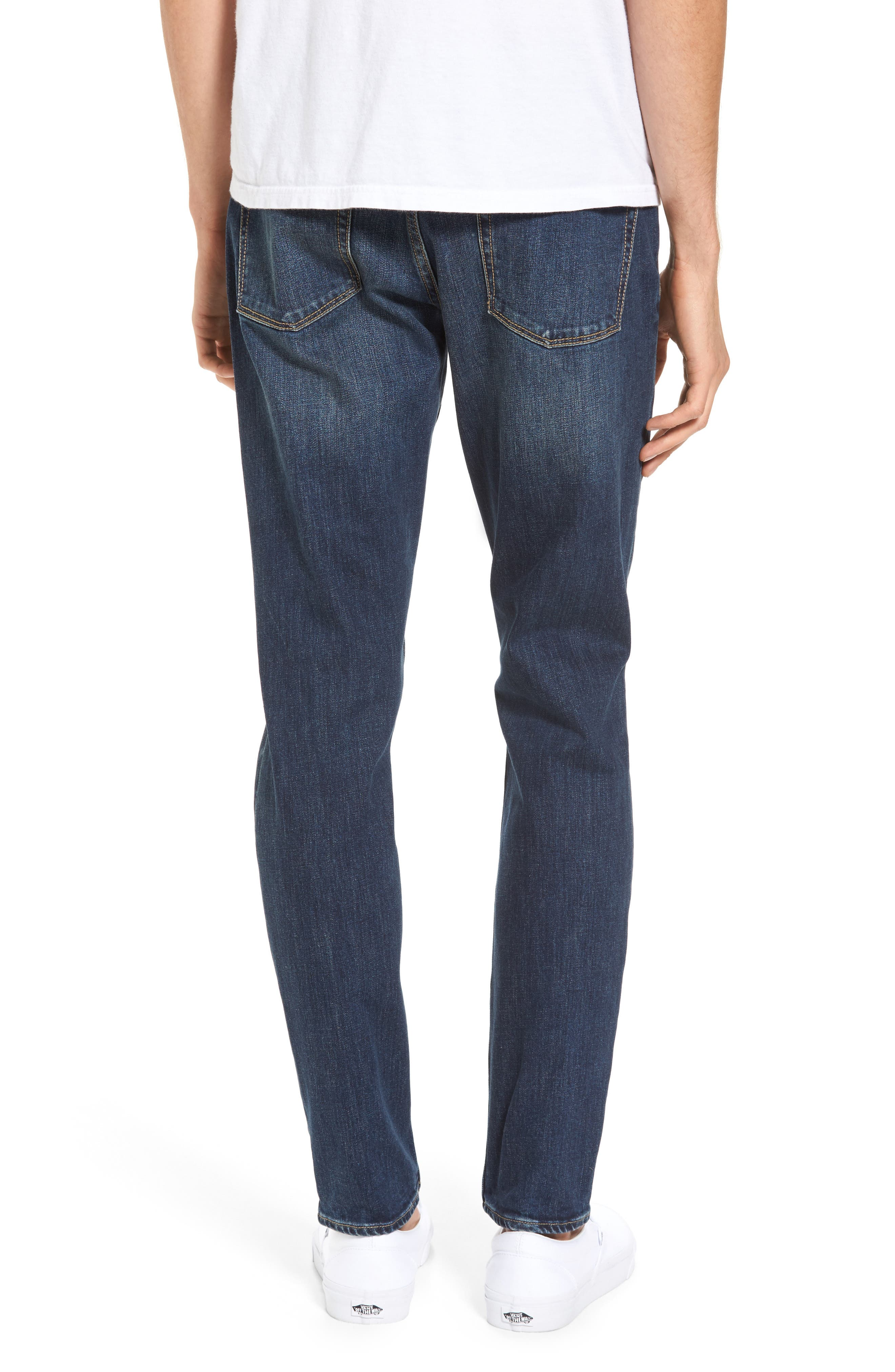 Slim Fit Destroyed Jeans,                             Alternate thumbnail 2, color,                             Blue Medium Indigo