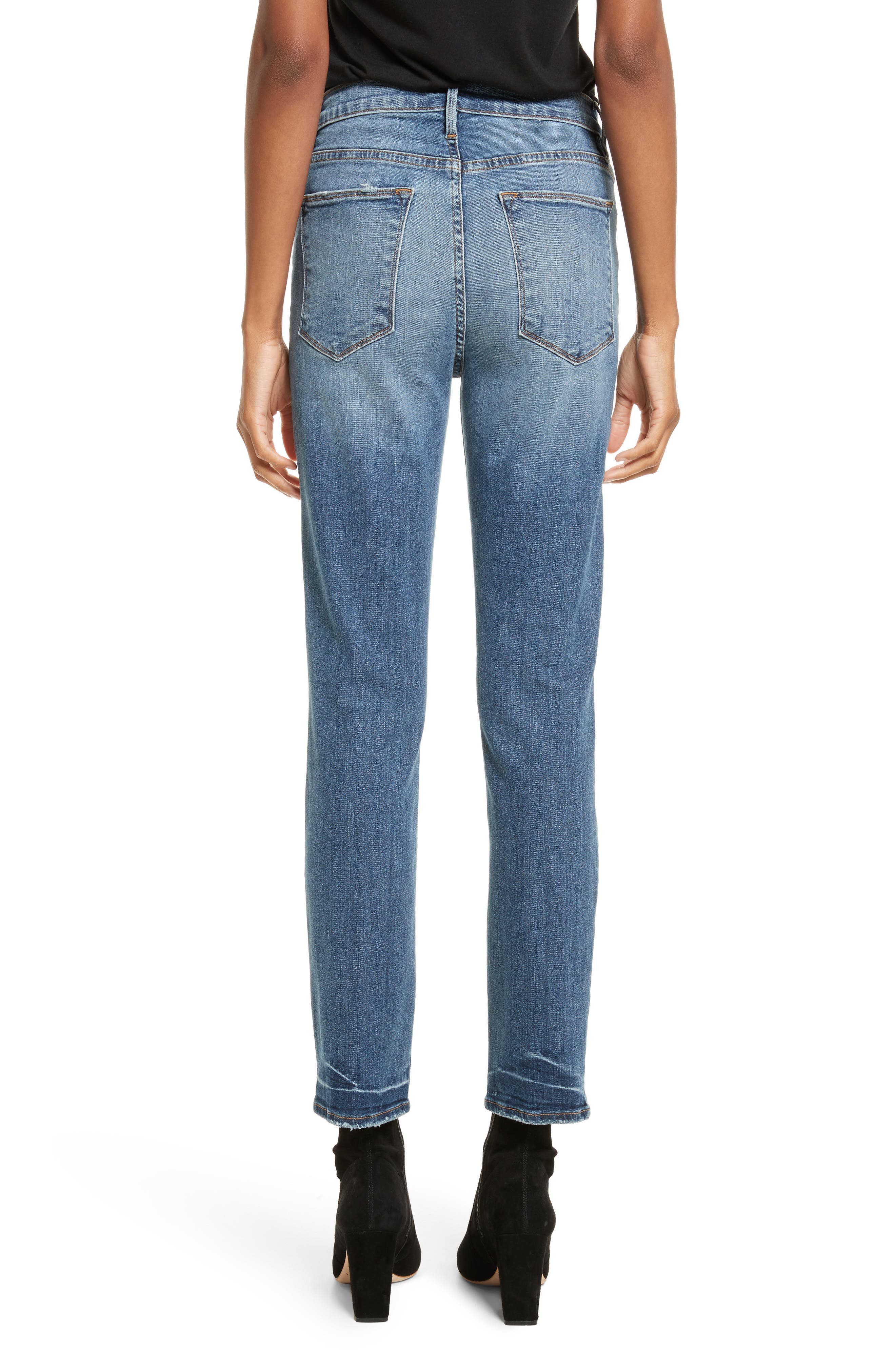 Le High Straight High Waist Crop Jeans,                             Alternate thumbnail 3, color,                             Whitwell