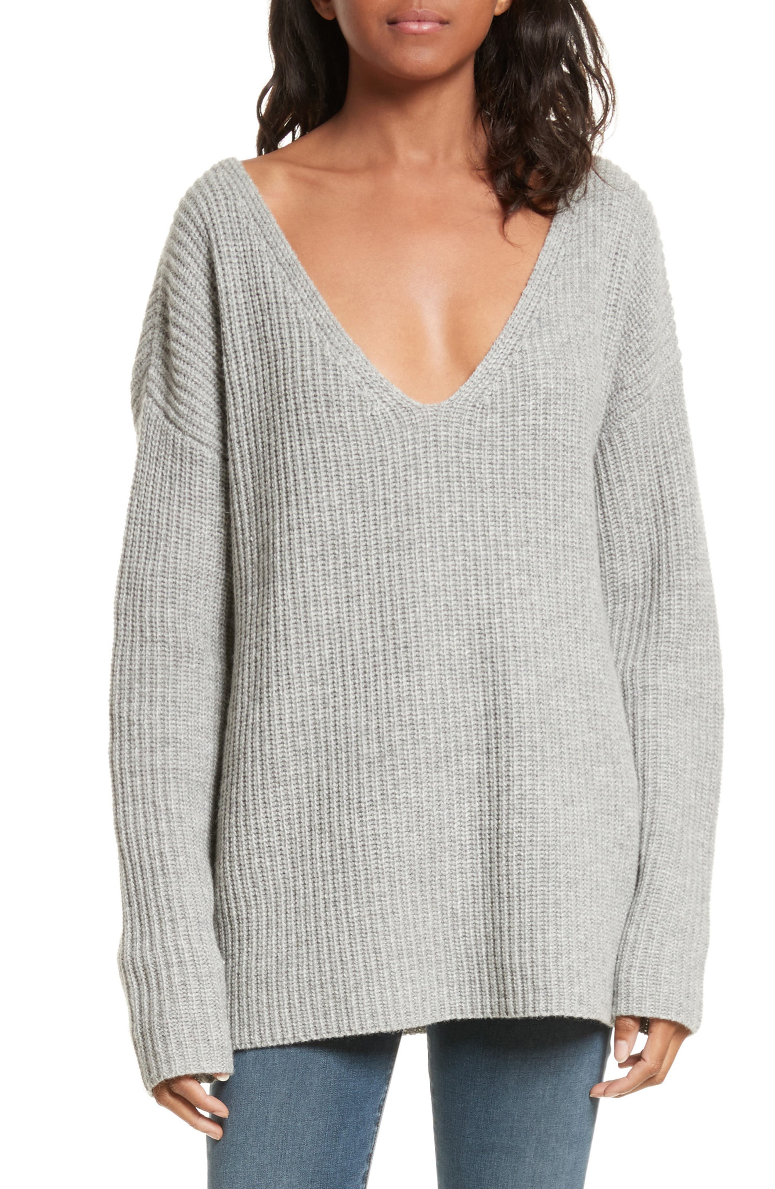 Oversize V-Neck Sweater,                             Main thumbnail 1, color,                             Gris